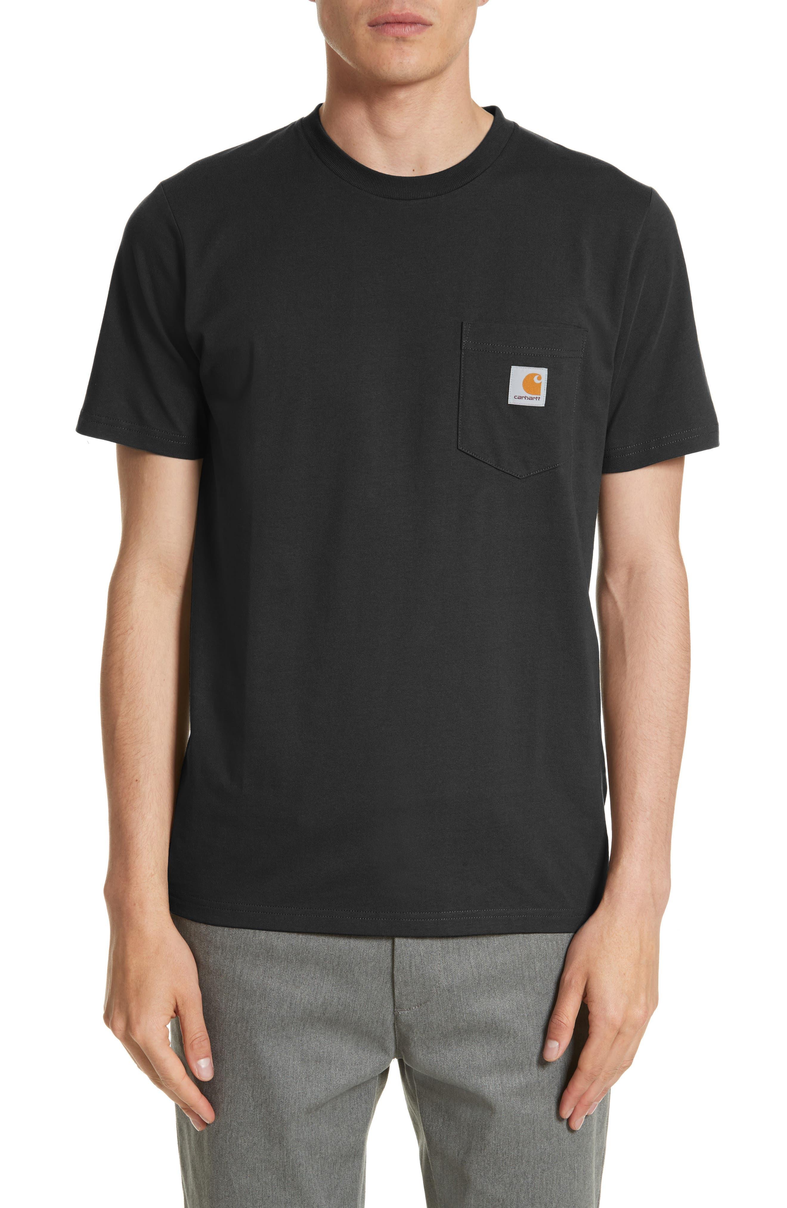 CARHARTT WORK IN PROGRESS, Logo Pocket T-Shirt, Main thumbnail 1, color, BLACK