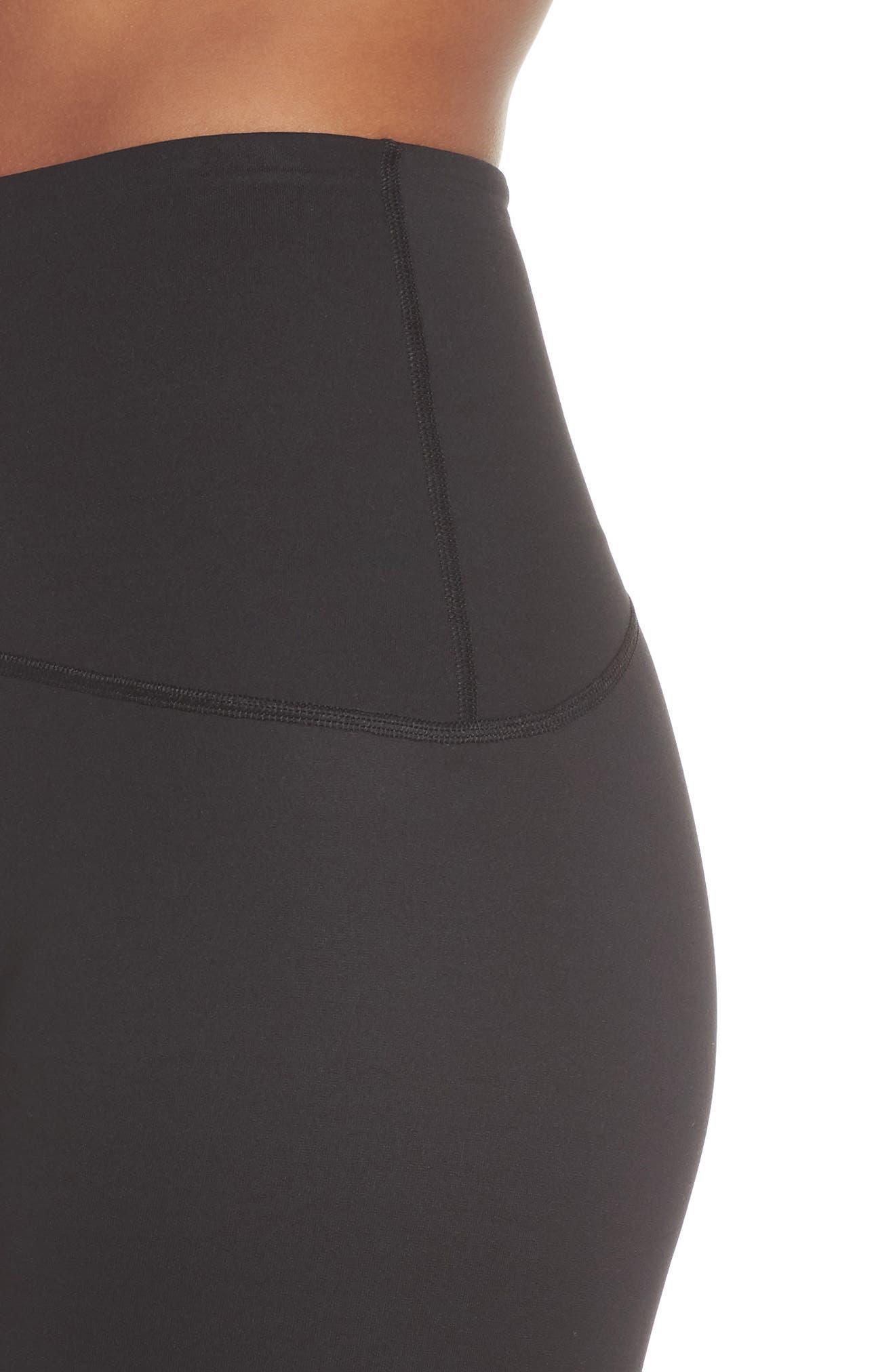 SPANX<SUP>®</SUP>, Active Knee-Length Leggings, Alternate thumbnail 5, color, BLACK