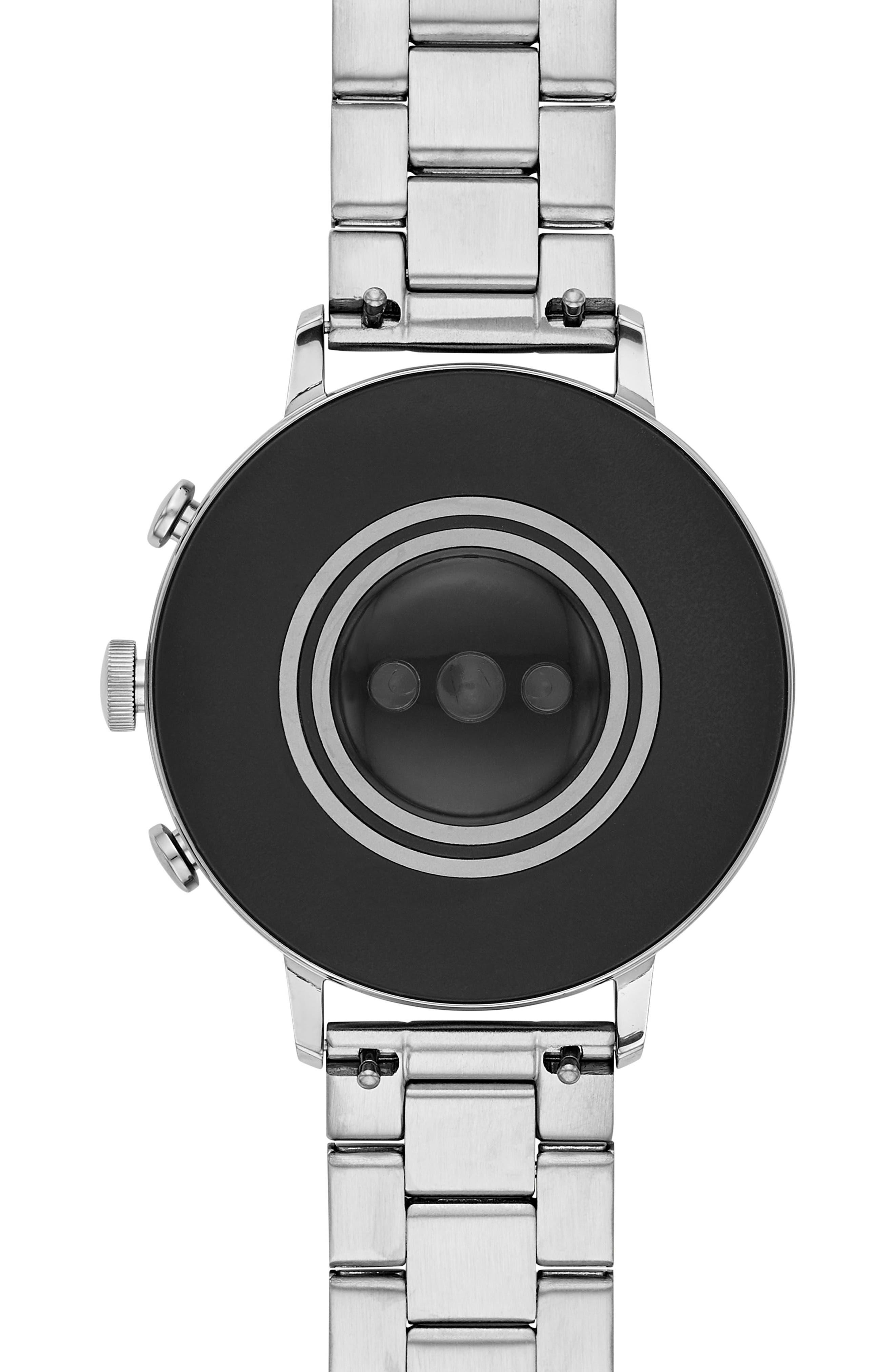 FOSSIL, Q Venture HR Bracelet Watch, 40mm, Alternate thumbnail 4, color, SILVER