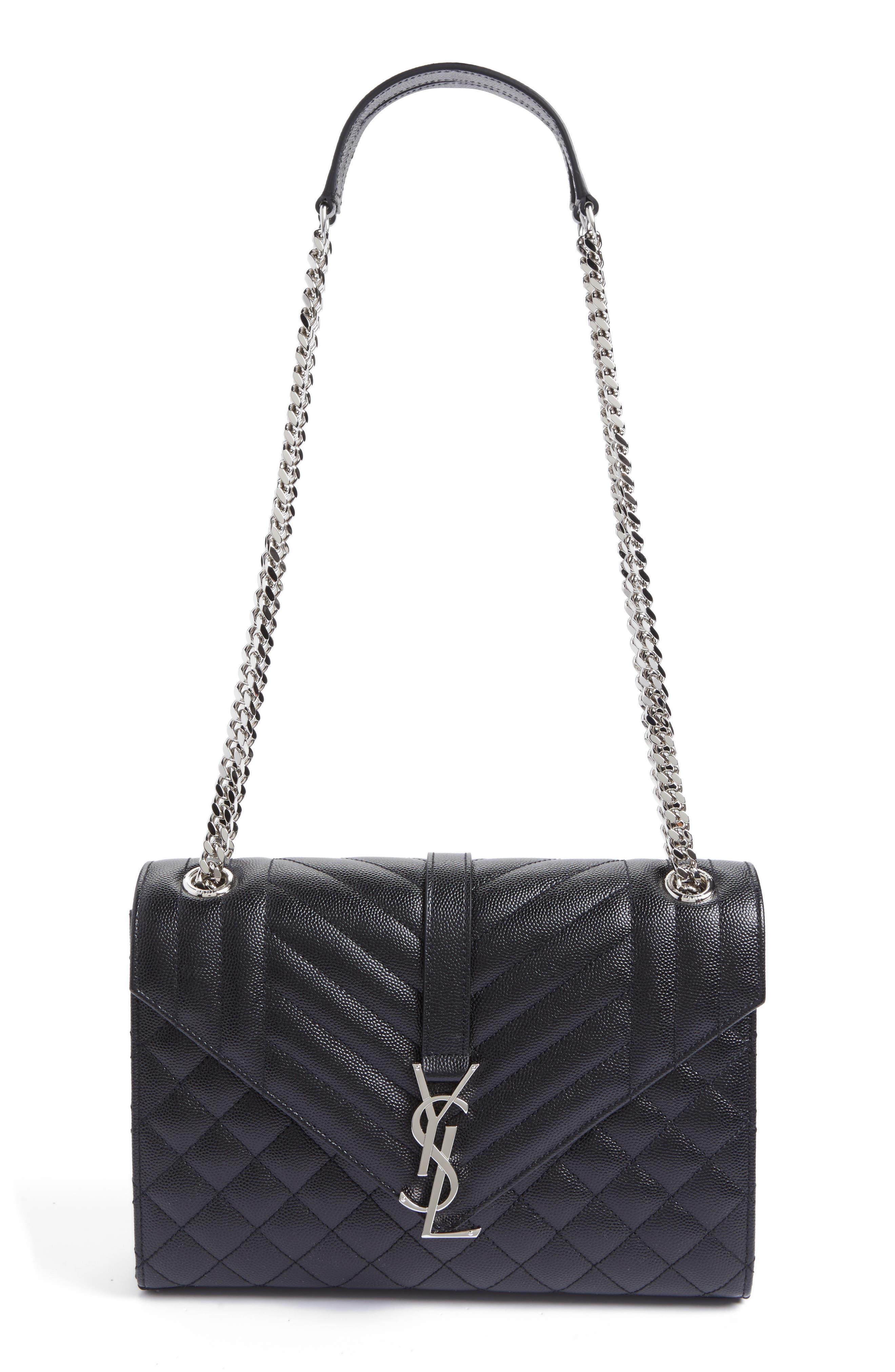 SAINT LAURENT, Large Monogram Quilted Leather Shoulder Bag, Main thumbnail 1, color, NERO