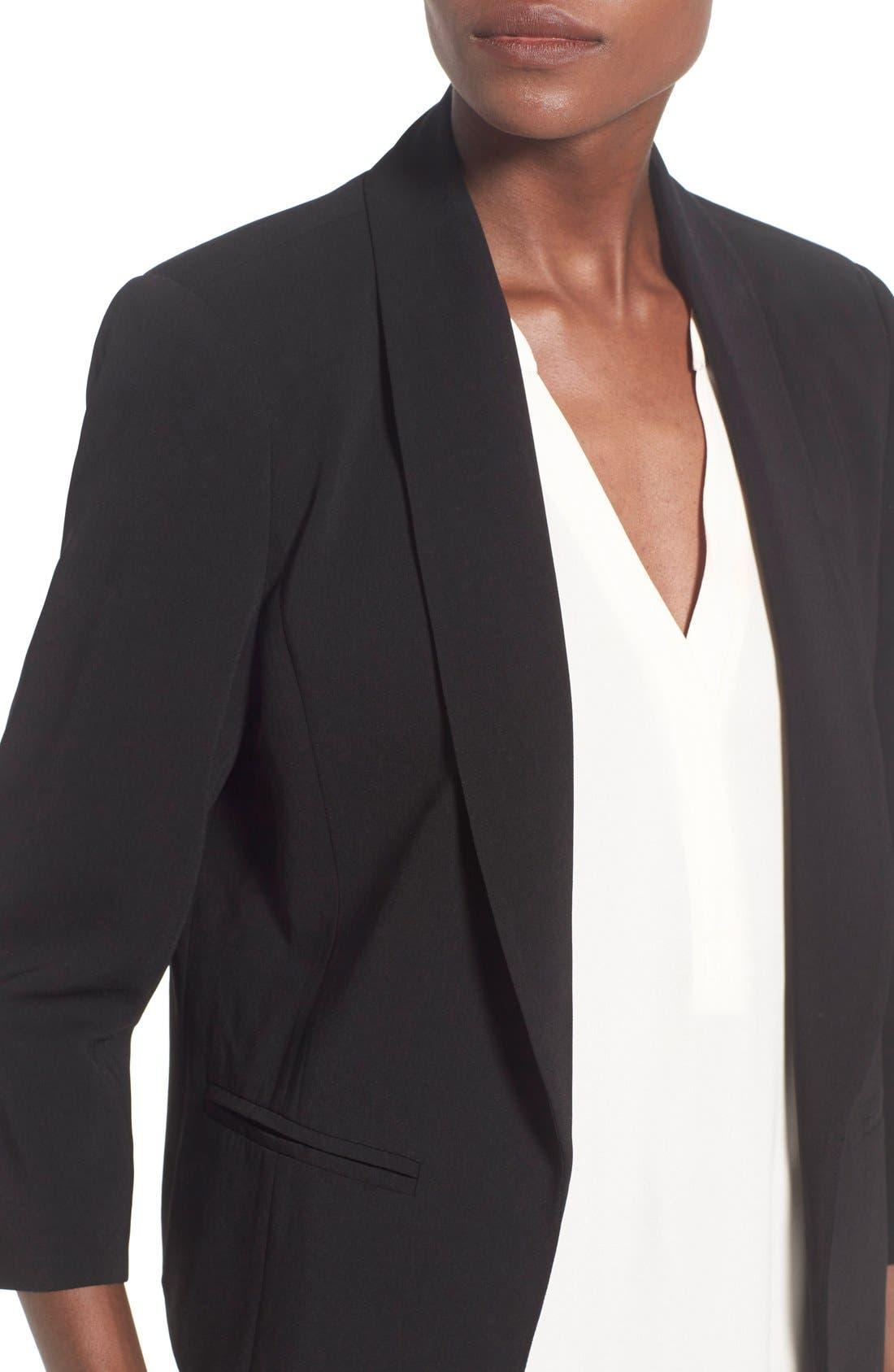 MURAL, 'Curve' Open Front Shawl Collar Blazer, Alternate thumbnail 7, color, BLACK