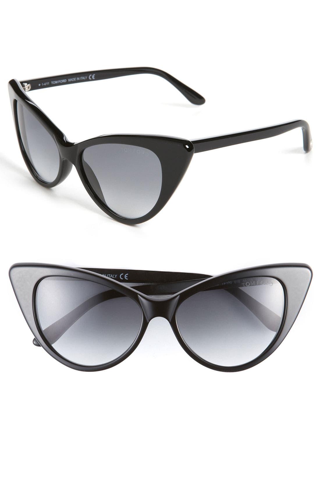 TOM FORD, Plastic Cat's Eye Sunglasses, Main thumbnail 1, color, 001