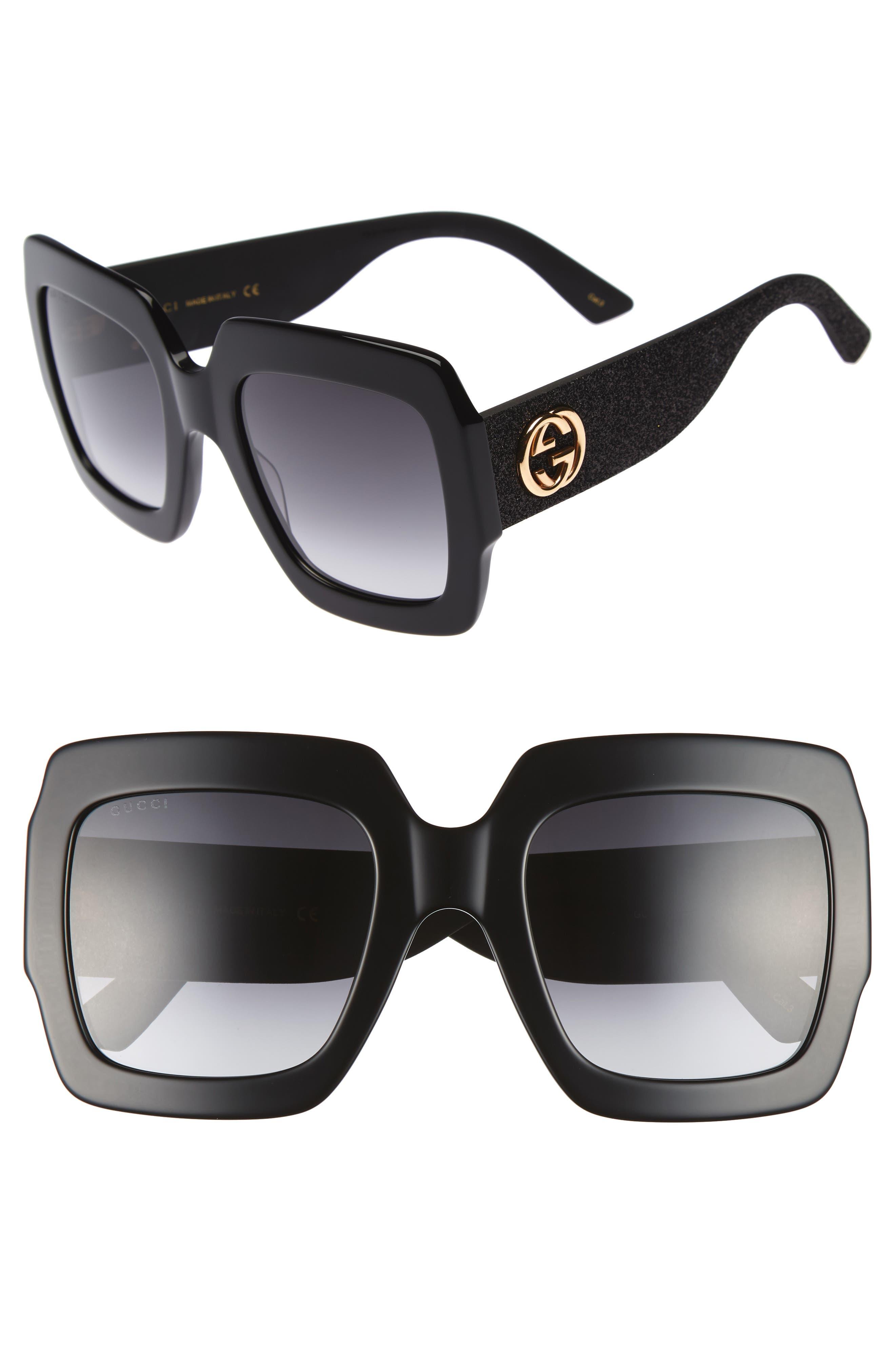 GUCCI, 54mm Square Sunglasses, Main thumbnail 1, color, BLACK/ GREY
