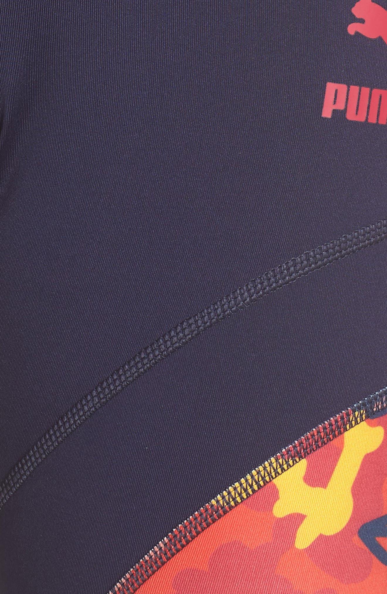PUMA, Flourish Flourish XTG Leggings, Alternate thumbnail 6, color, PEACOAT-HIBISCUS MULTI
