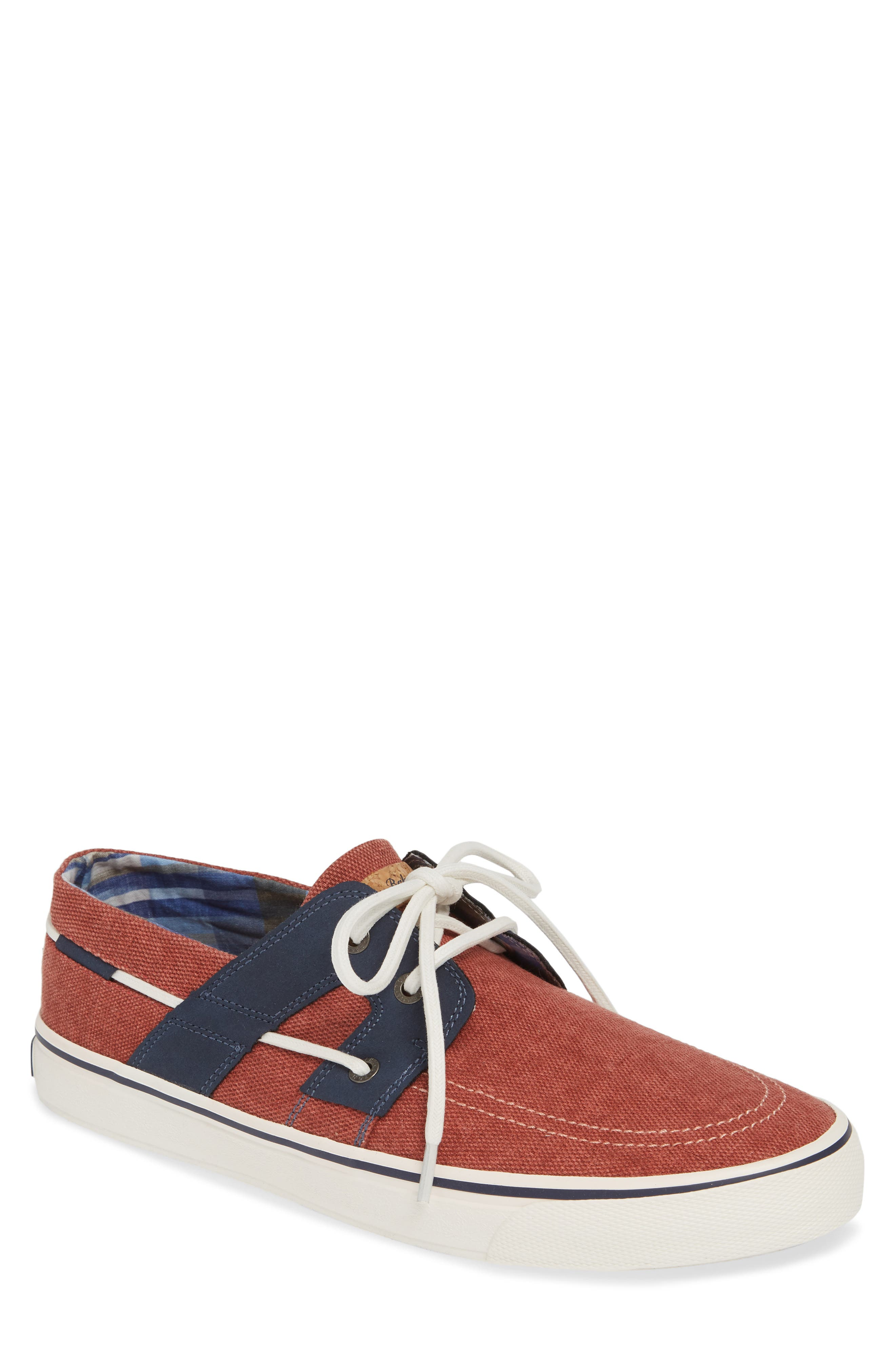 TOMMY BAHAMA, Stripe Breaker Sneaker, Main thumbnail 1, color, RED WASHED CANVAS/ LEATHER