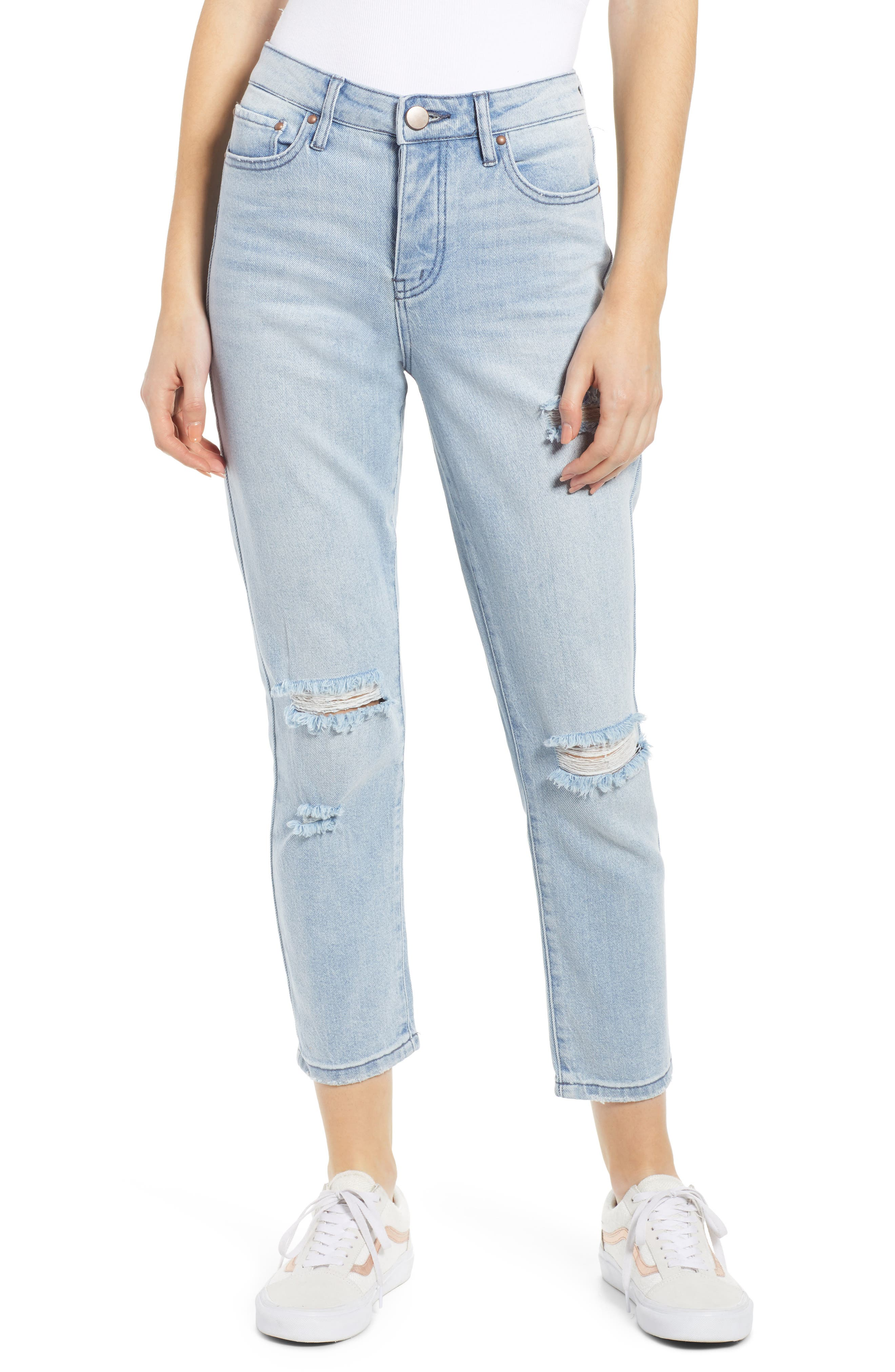 PROSPERITY DENIM Ripped Ankle Straight Leg Jeans, Main, color, LIGHT WASH