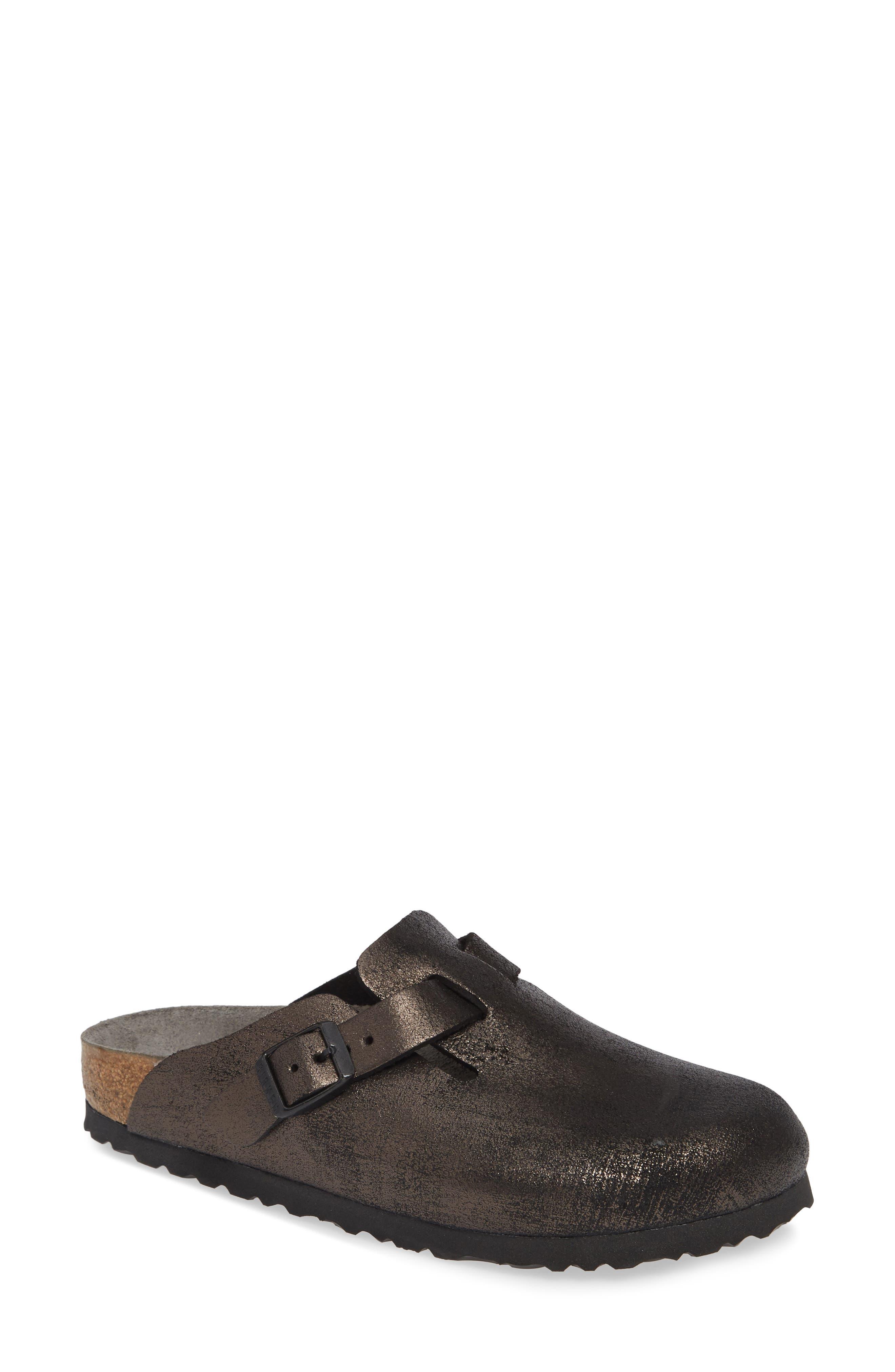 BIRKENSTOCK Boston Soft Footbed Clog, Main, color, METALLIC ANTIQUE BLACK LEATHER