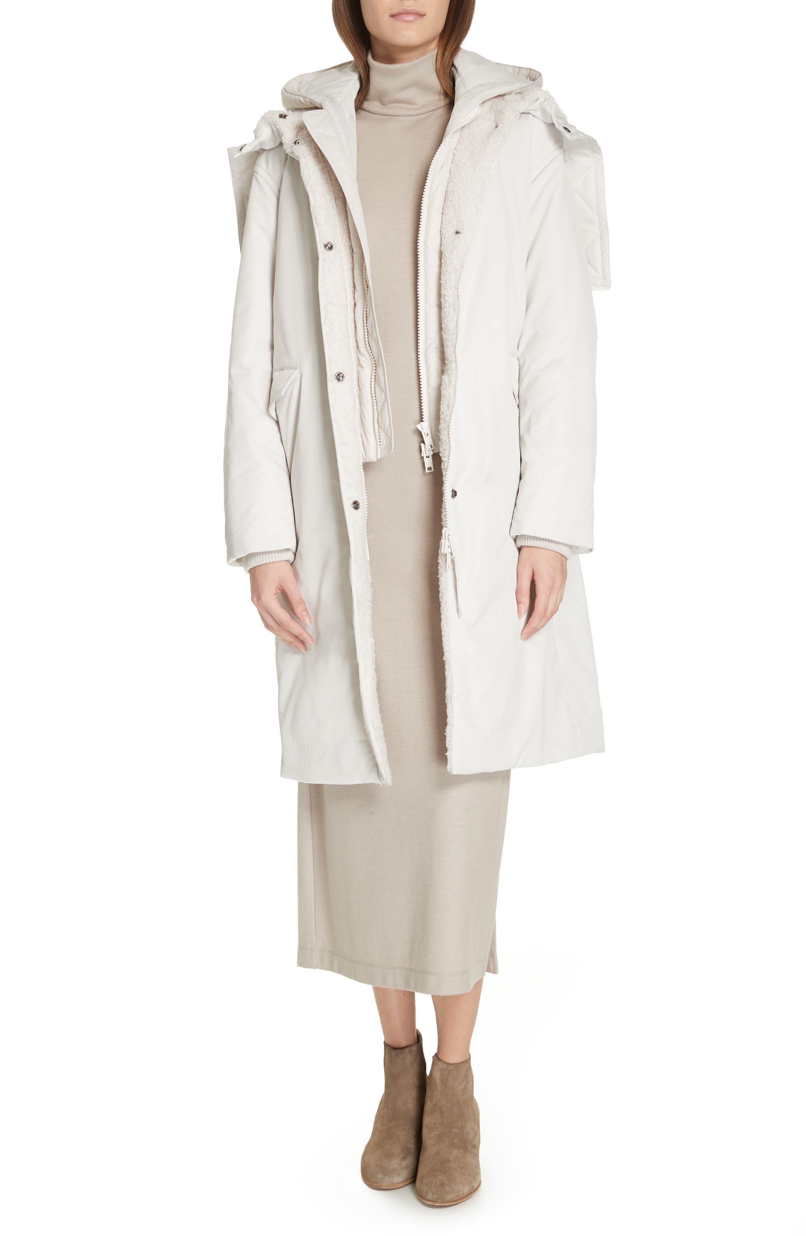 VINCE, Faux Fur Trim Puffer Coat, Alternate thumbnail 7, color, LUCITE