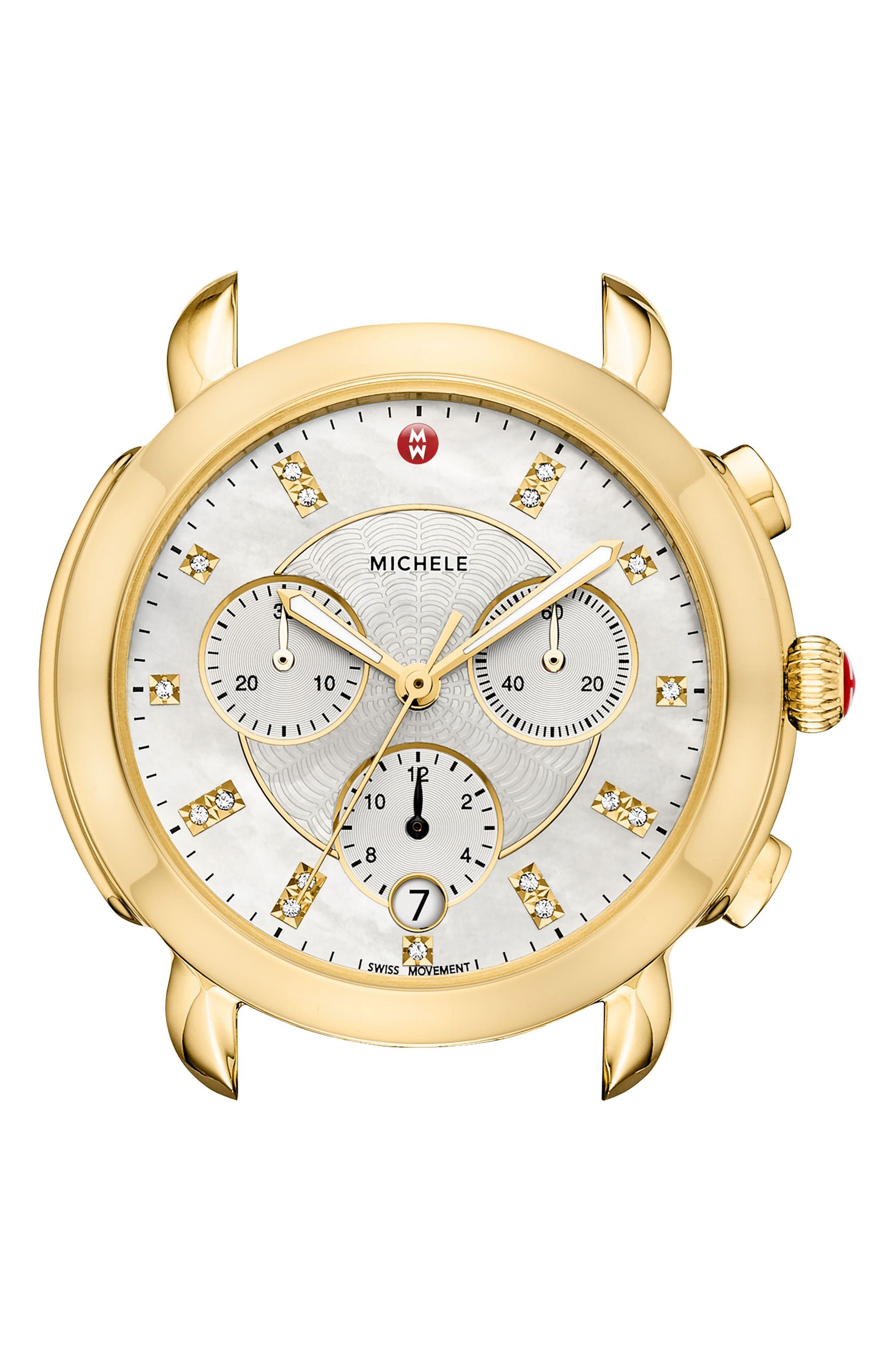 MICHELE, Sidney Chronograph Diamond Watch Head, 38mm, Alternate thumbnail 2, color, GOLD/ MOP