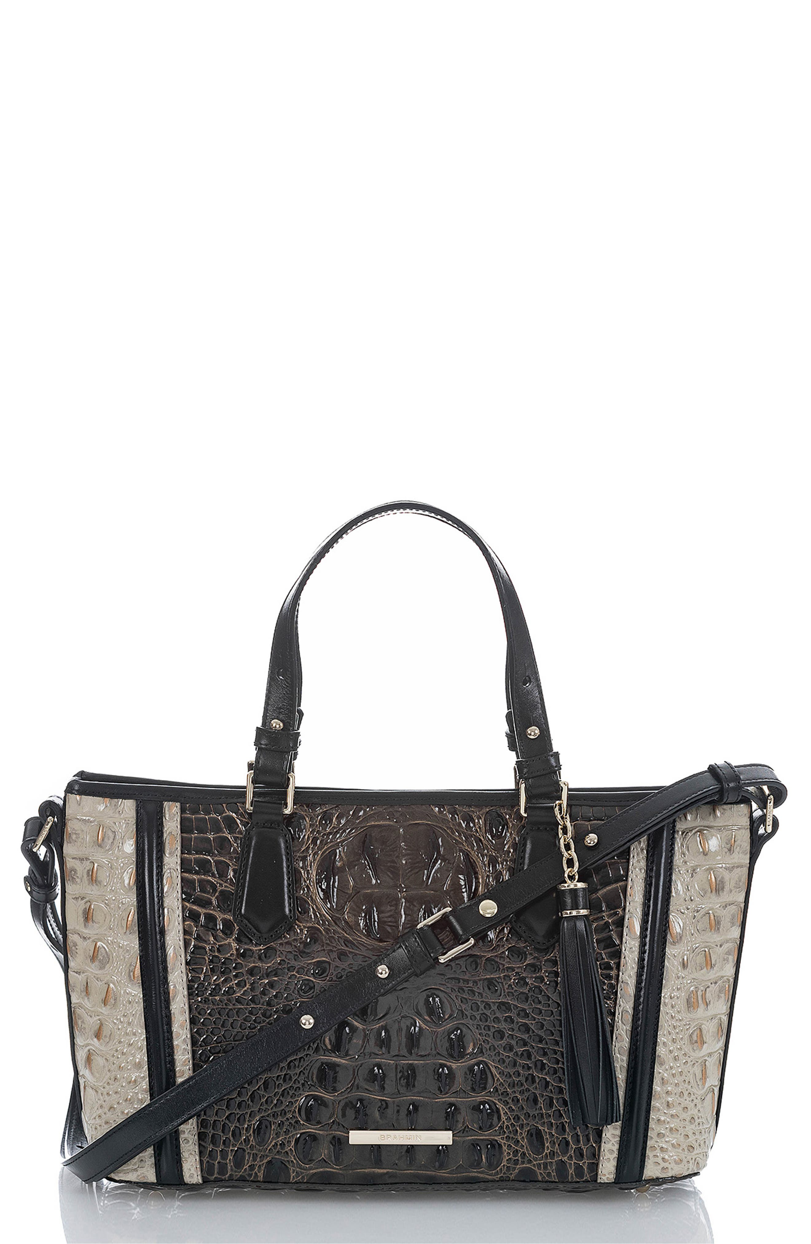 BRAHMIN Mini Asher Croc Embossed Leather Tote, Main, color, 023