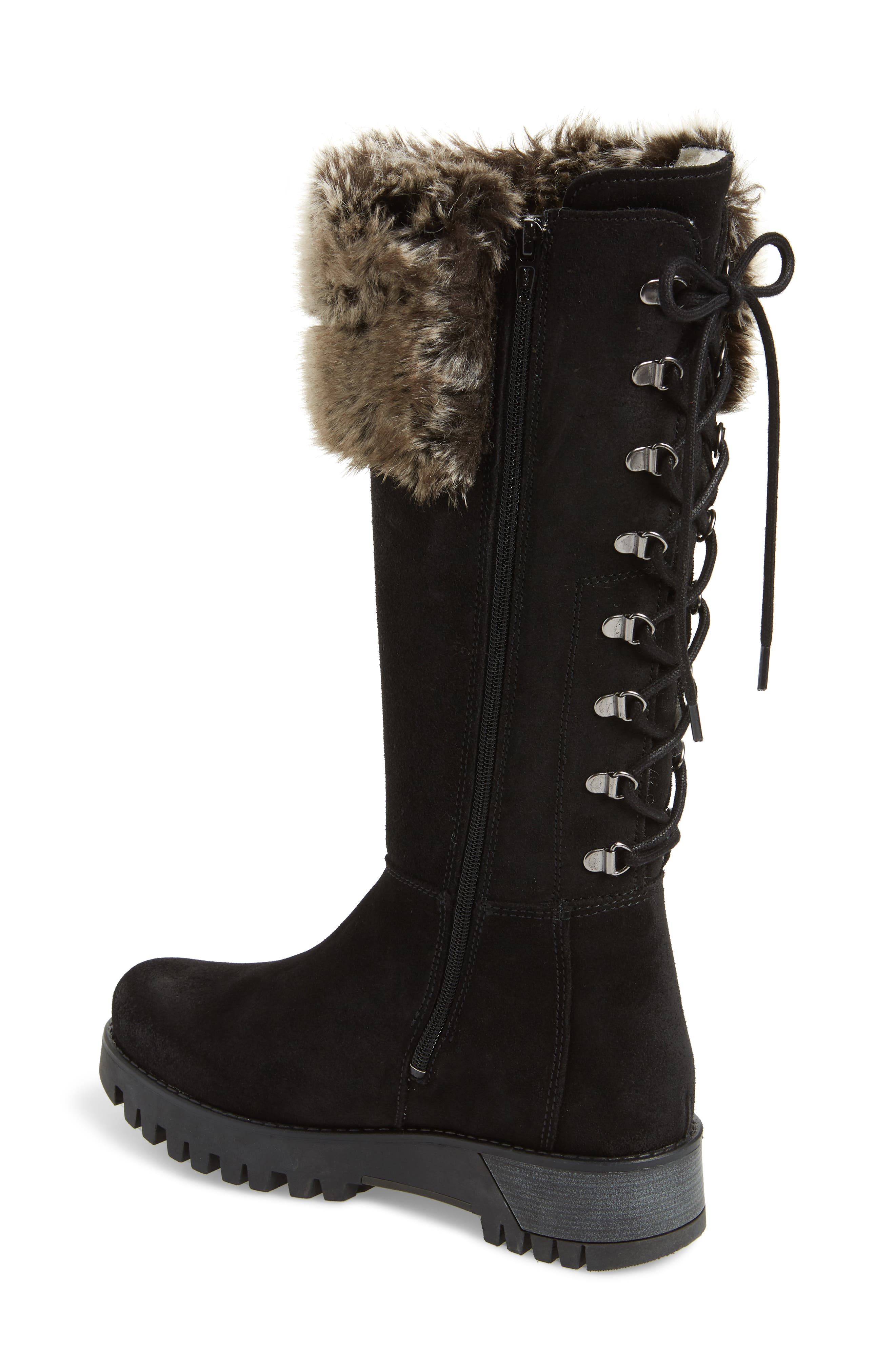 BOS. & CO., Graham Waterproof Winter Boot with Faux Fur Cuff, Alternate thumbnail 2, color, BLACK SUEDE