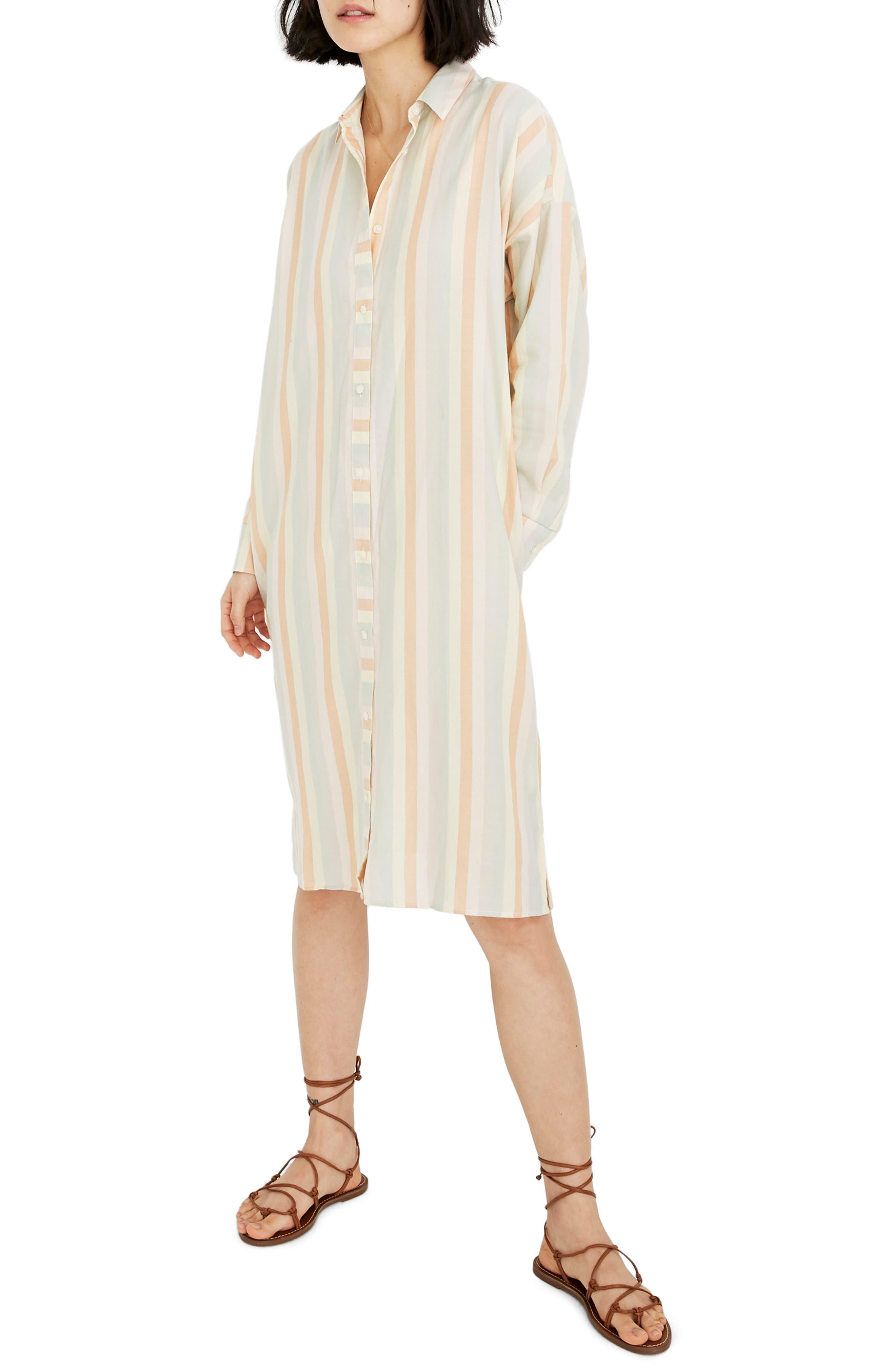 Madewell Rainbow Stripe Long Sleeve Tunic Shirtdress, Orange
