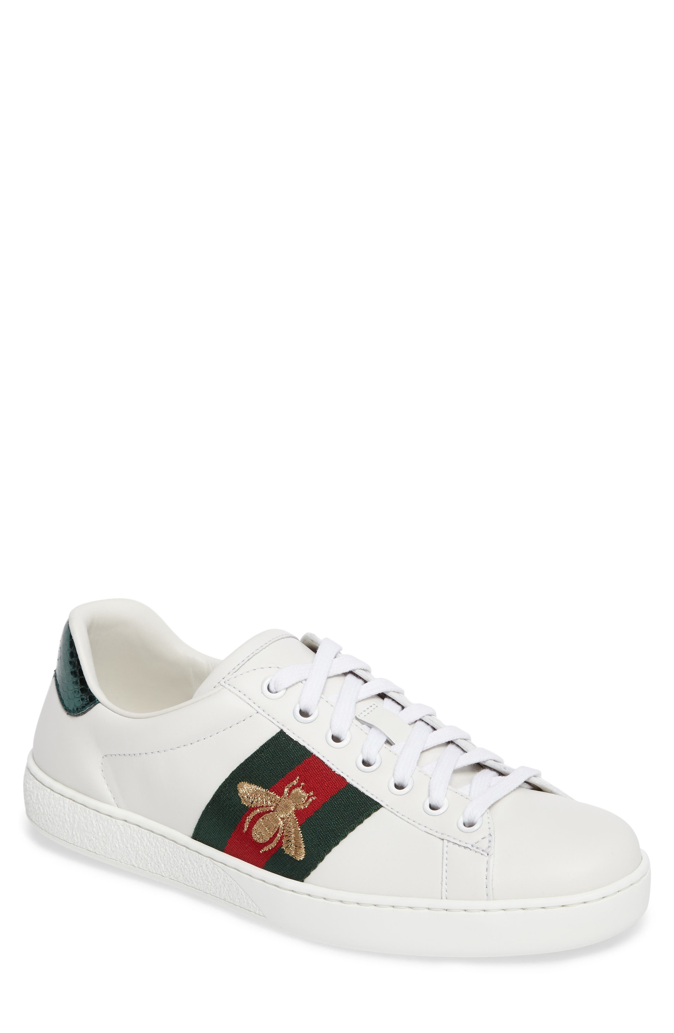 GUCCI, New Ace Sneaker, Main thumbnail 1, color, BIANCO MULTI LEATHER