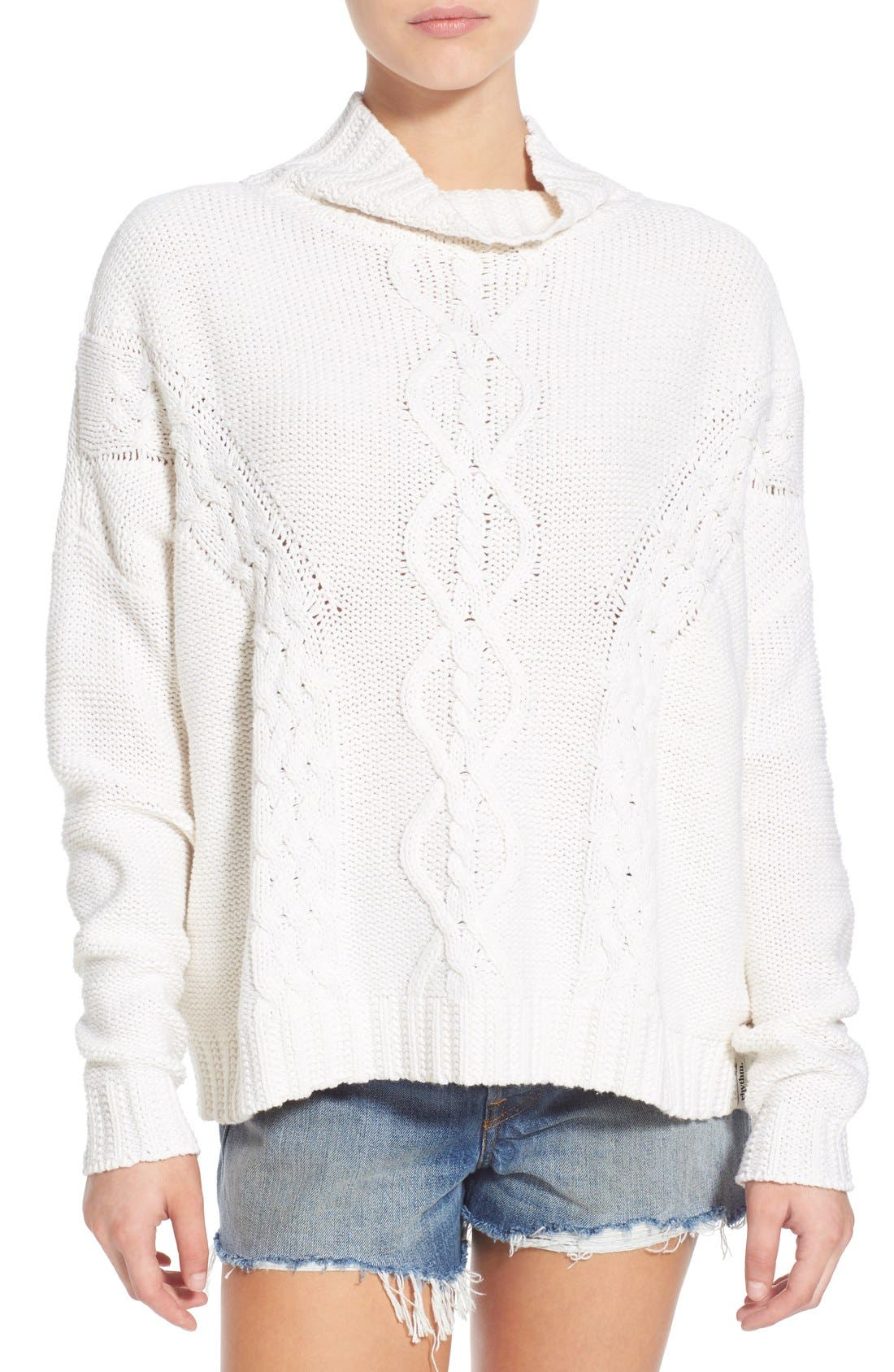 RHYTHM, 'Yacht' Cable Knit Turtleneck Sweater, Main thumbnail 1, color, 100