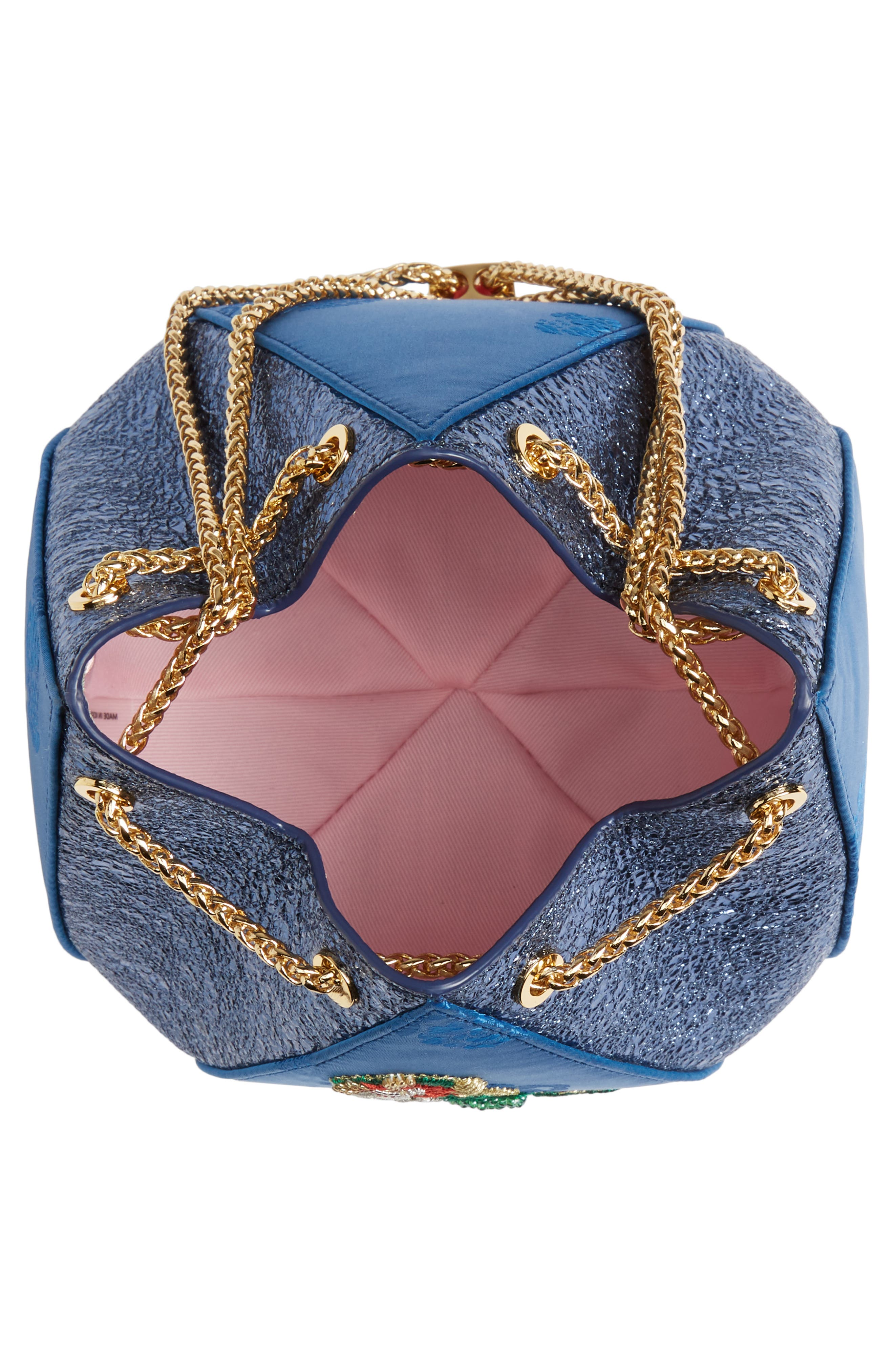 THE VOLON, Metallic Cindy Embroidered Satin & Leather Clutch, Alternate thumbnail 5, color, BLUE