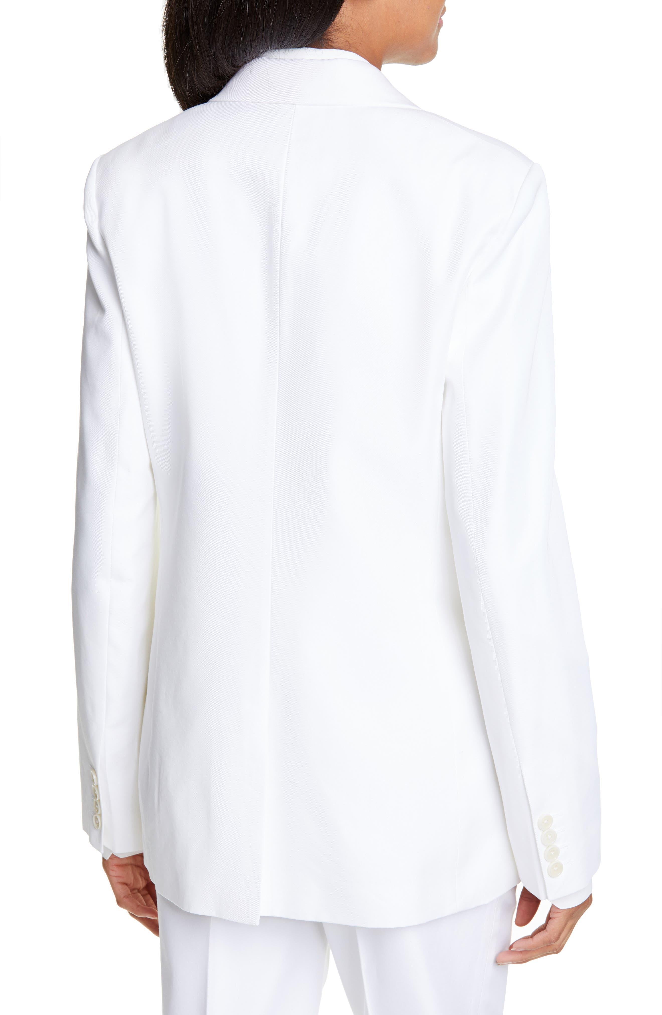 HELMUT LANG, Cotton Blend Blazer, Alternate thumbnail 2, color, WHITE