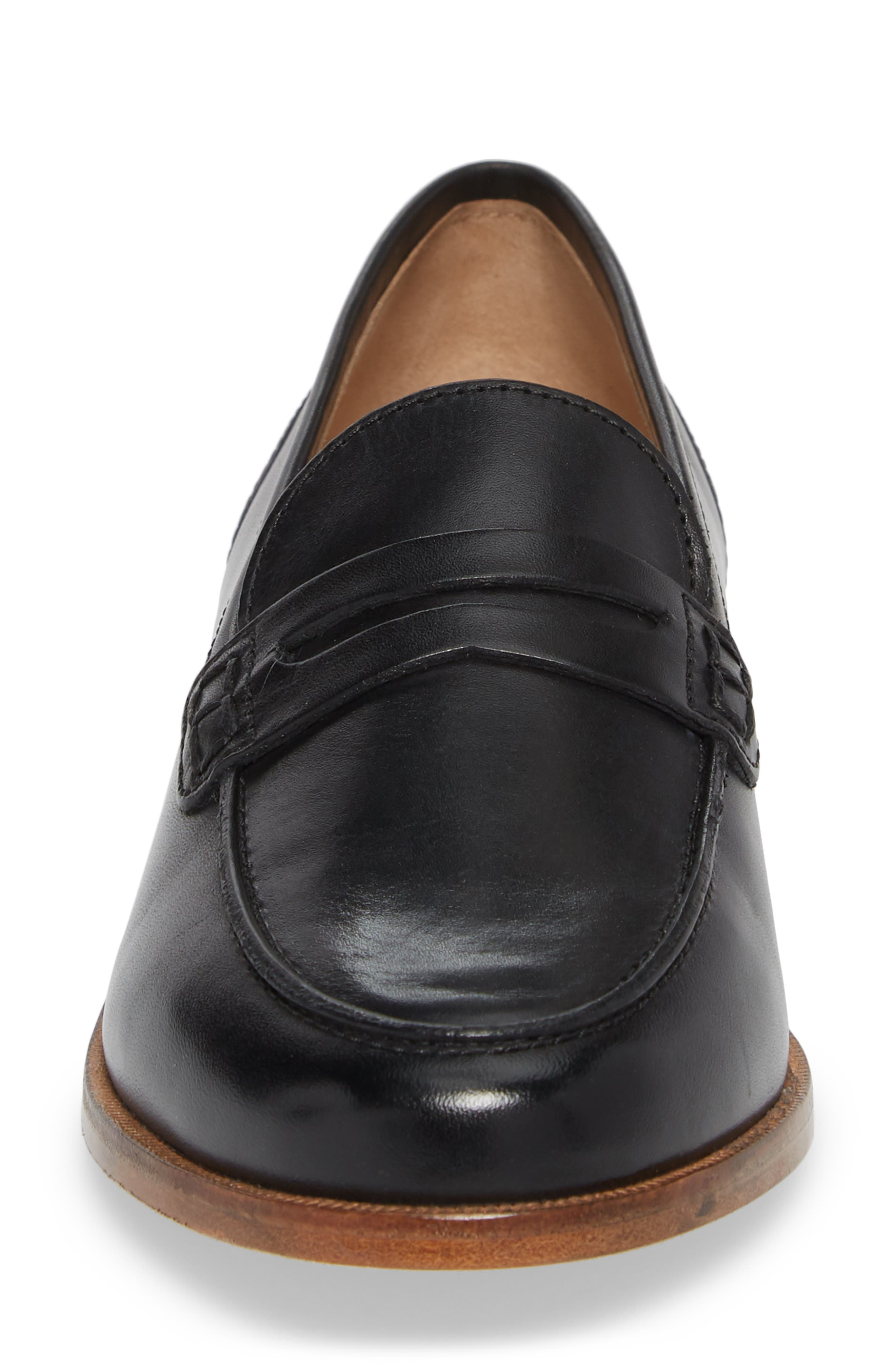 J.CREW, Ryan Penny Loafer, Alternate thumbnail 4, color, BLACK LEATHER