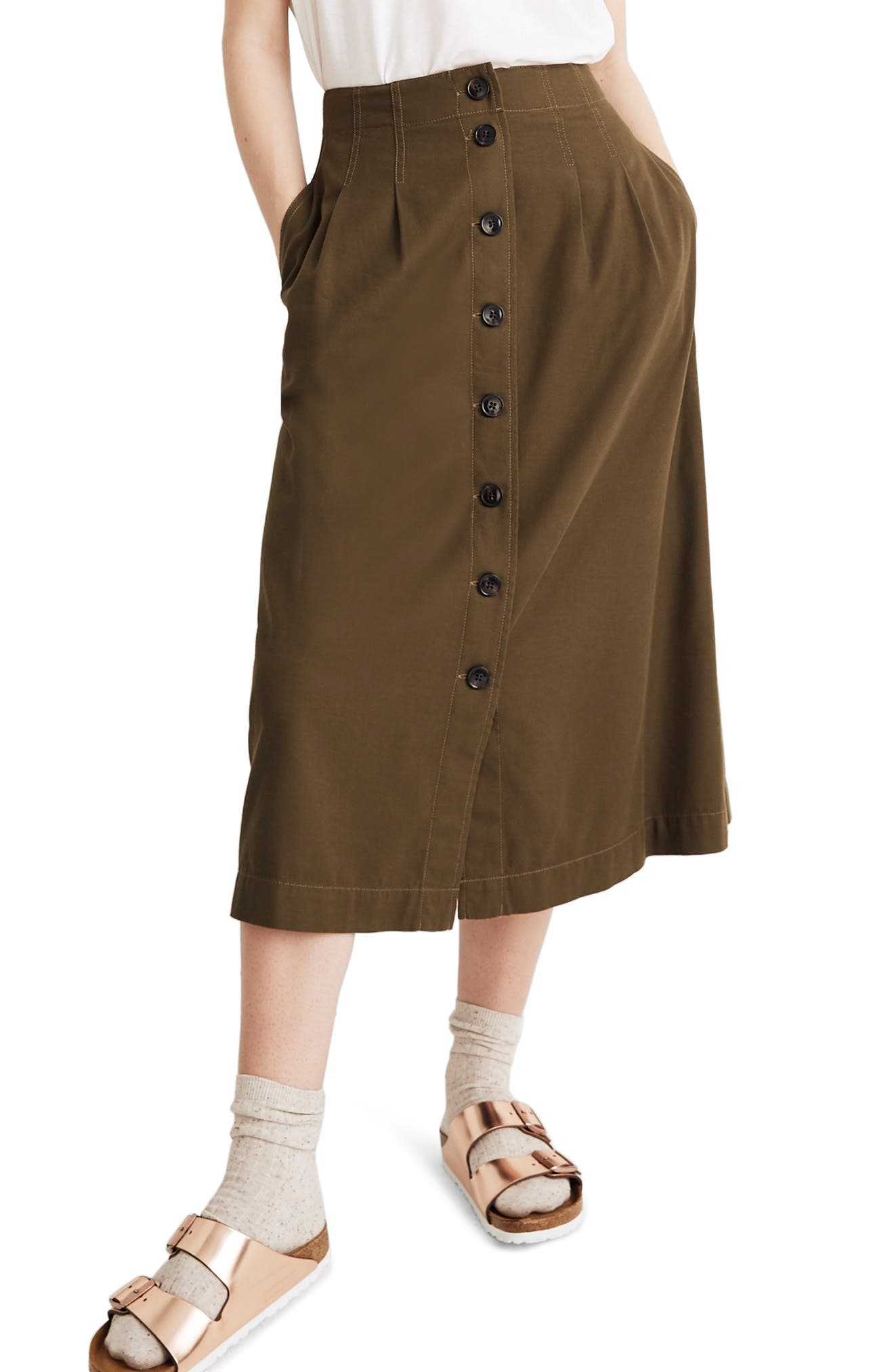 MADEWELL Patio Button Front Midi Skirt, Main, color, KALE