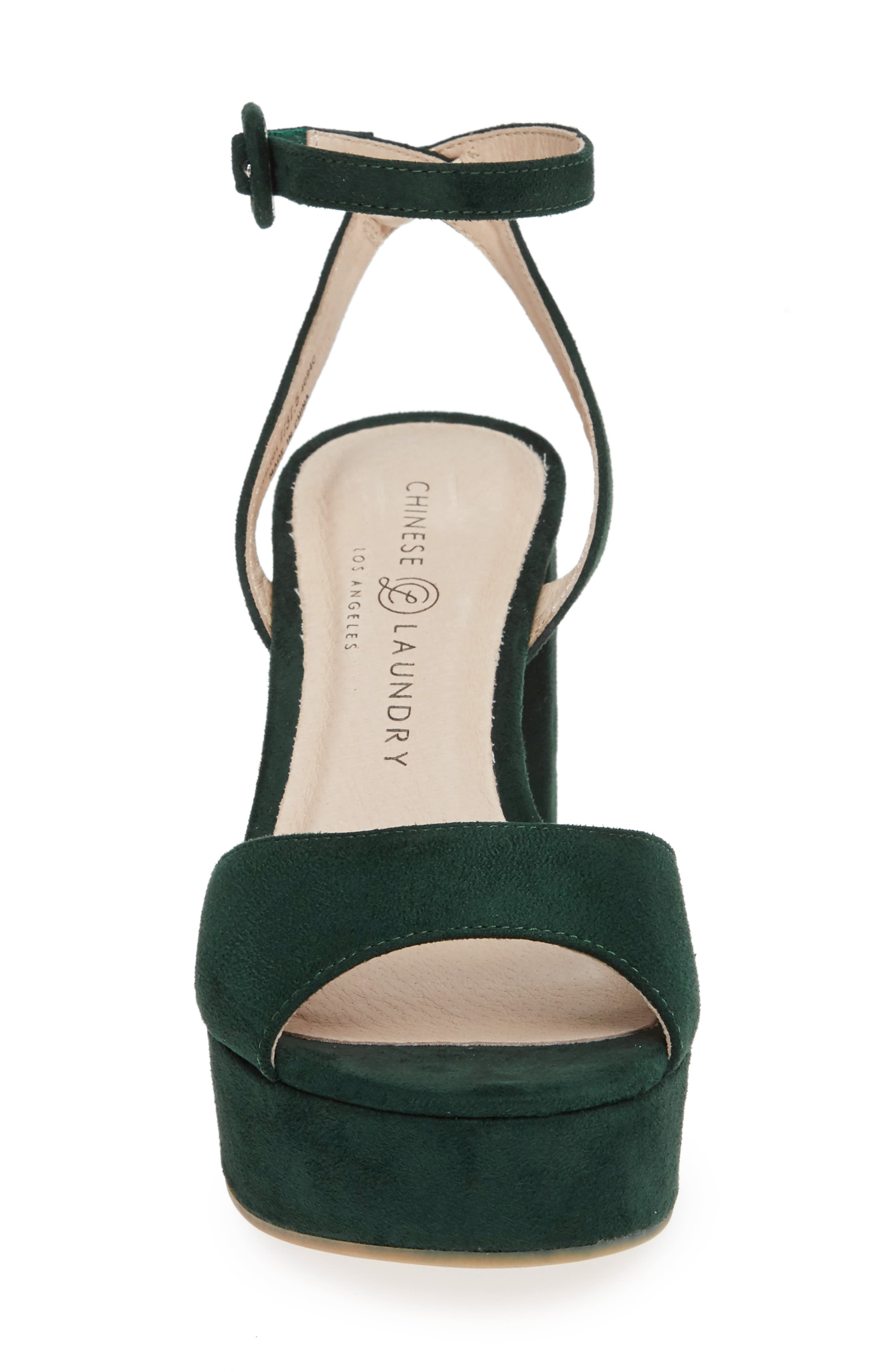 CHINESE LAUNDRY, Theresa Platform Sandal, Alternate thumbnail 4, color, FOREST GREEN SUEDE