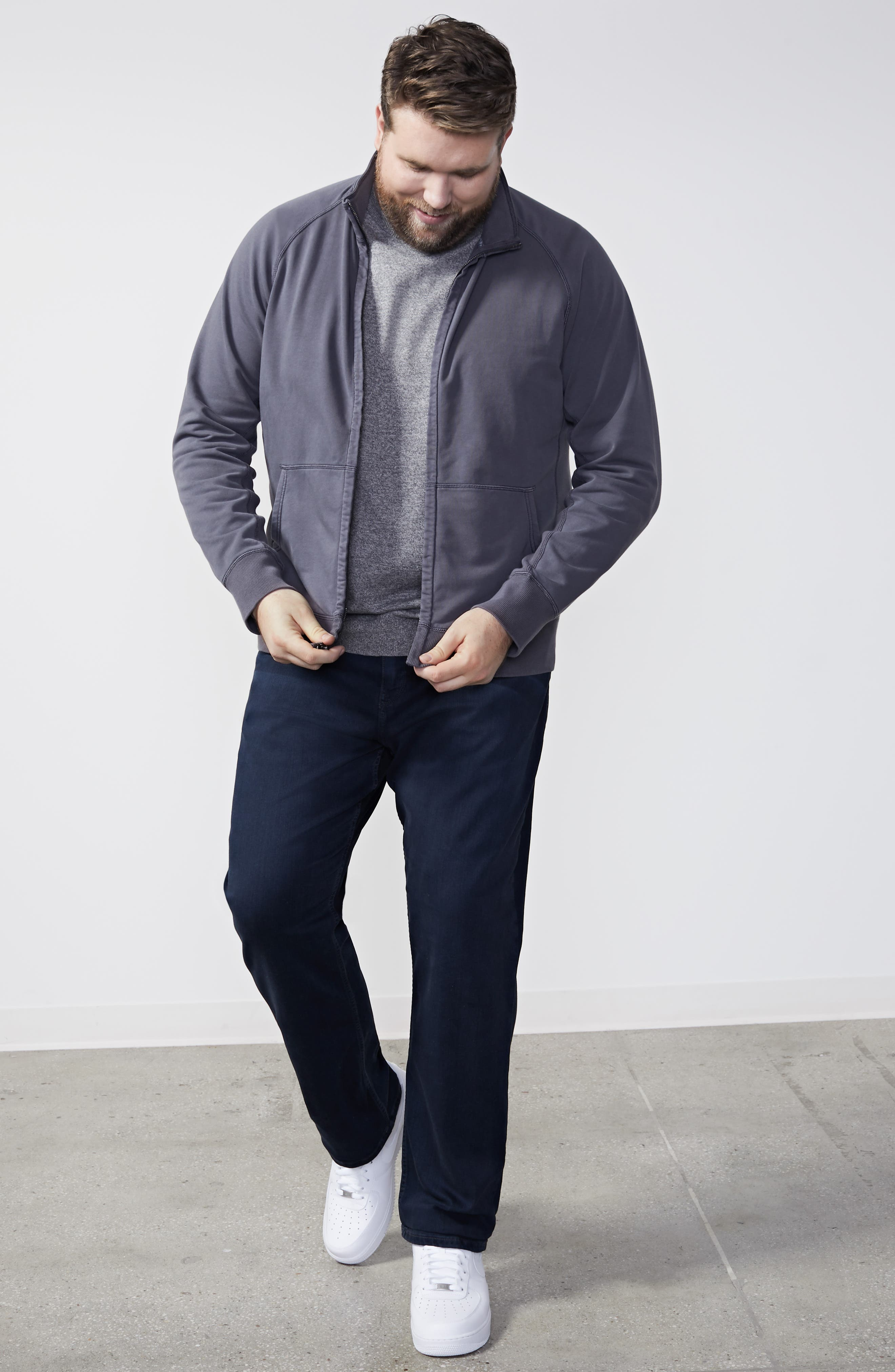 NORDSTROM MEN'S SHOP, Cotton & Cashmere Crewneck Sweater, Alternate thumbnail 9, color, GREY SHADE MARL