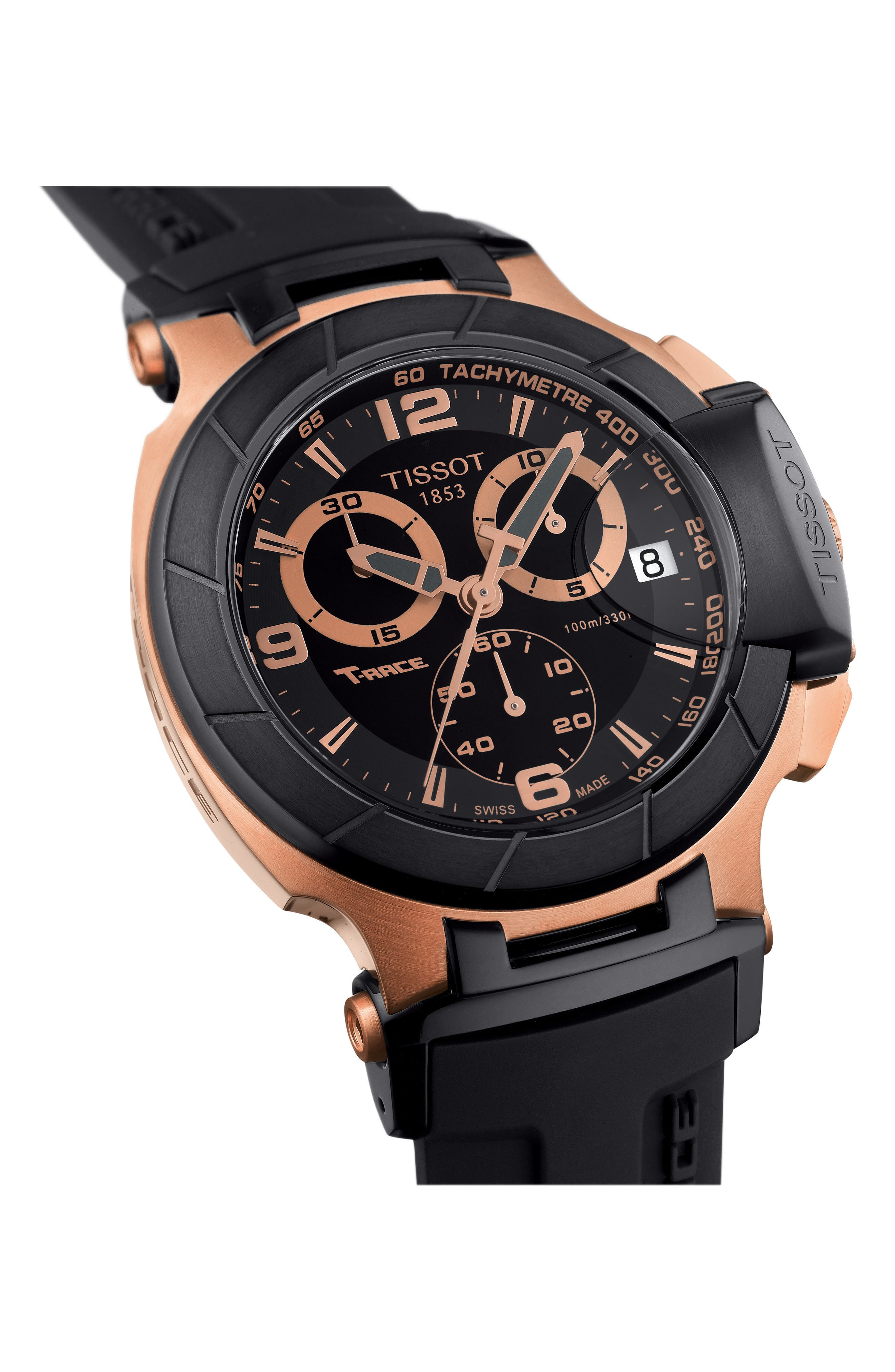 TISSOT, T-Race Chronograph Silicone Strap Watch, 50mm, Alternate thumbnail 2, color, BLACK/ ROSE GOLD