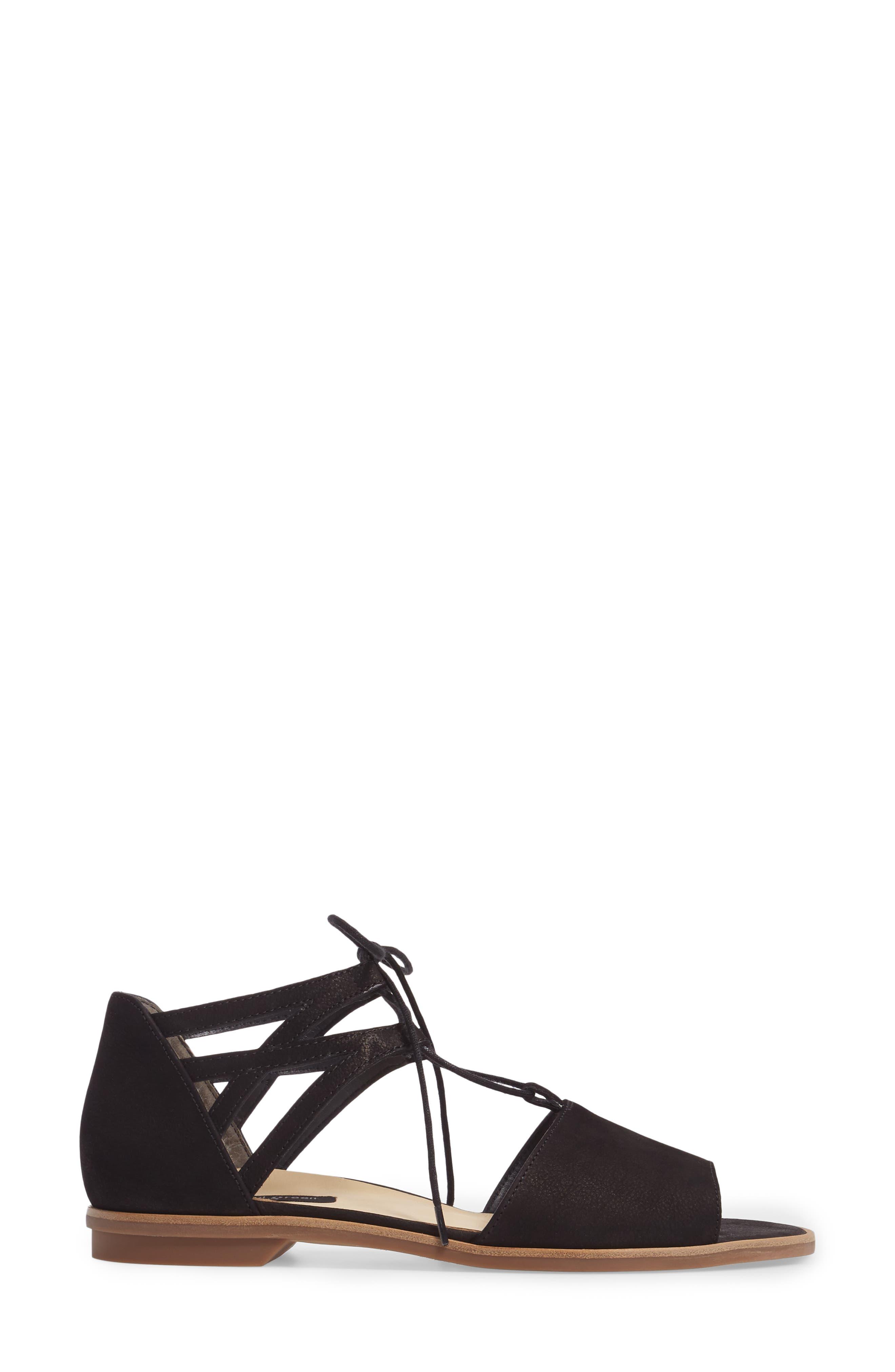 PAUL GREEN, Morea Lace-Up Sandal, Alternate thumbnail 3, color, BLACK LEATHER