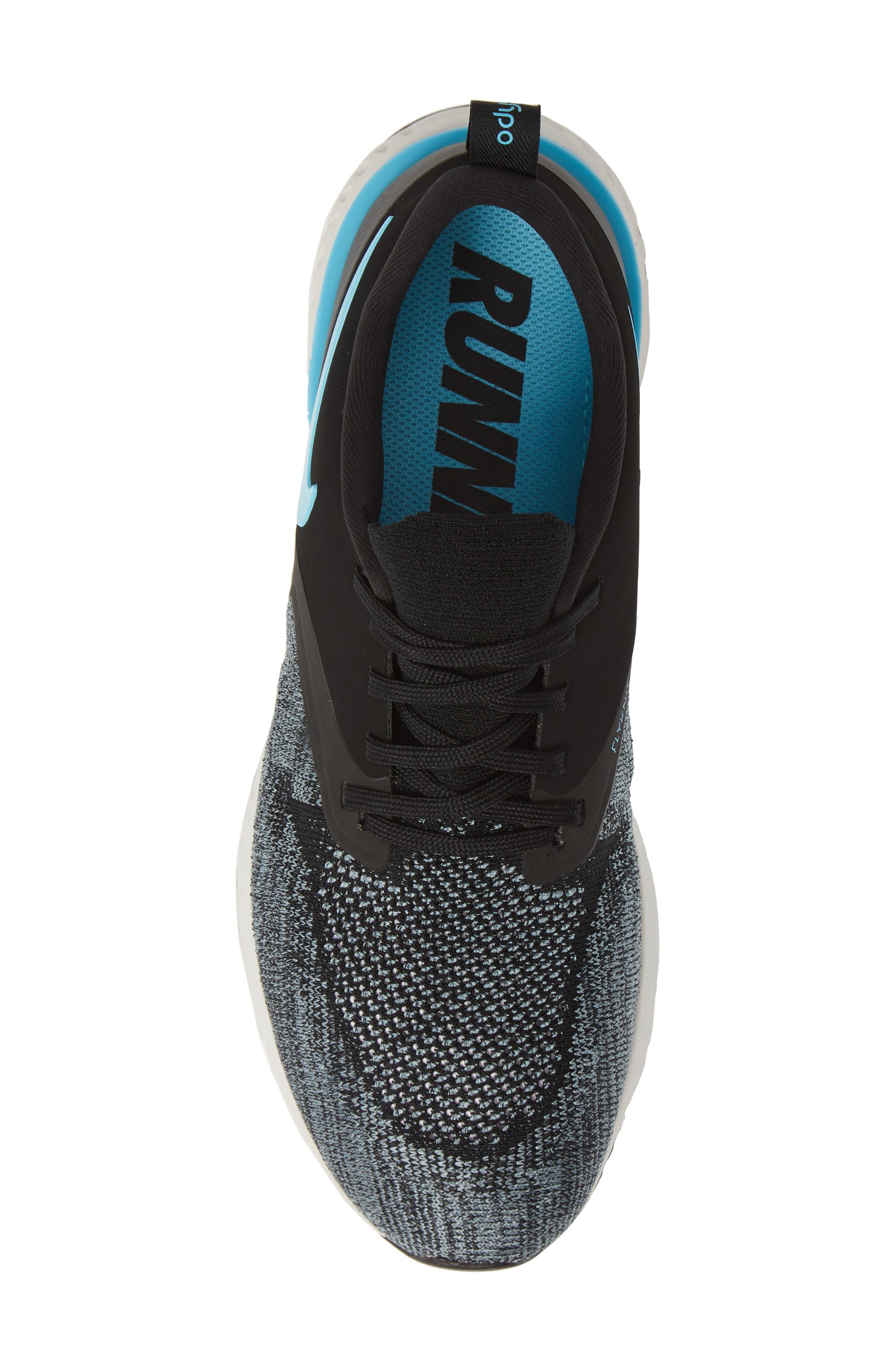 NIKE, Odyssey React 2 Flyknit Running Shoe, Alternate thumbnail 5, color, BLACK/ BLUE FURY/ AVIATOR GREY