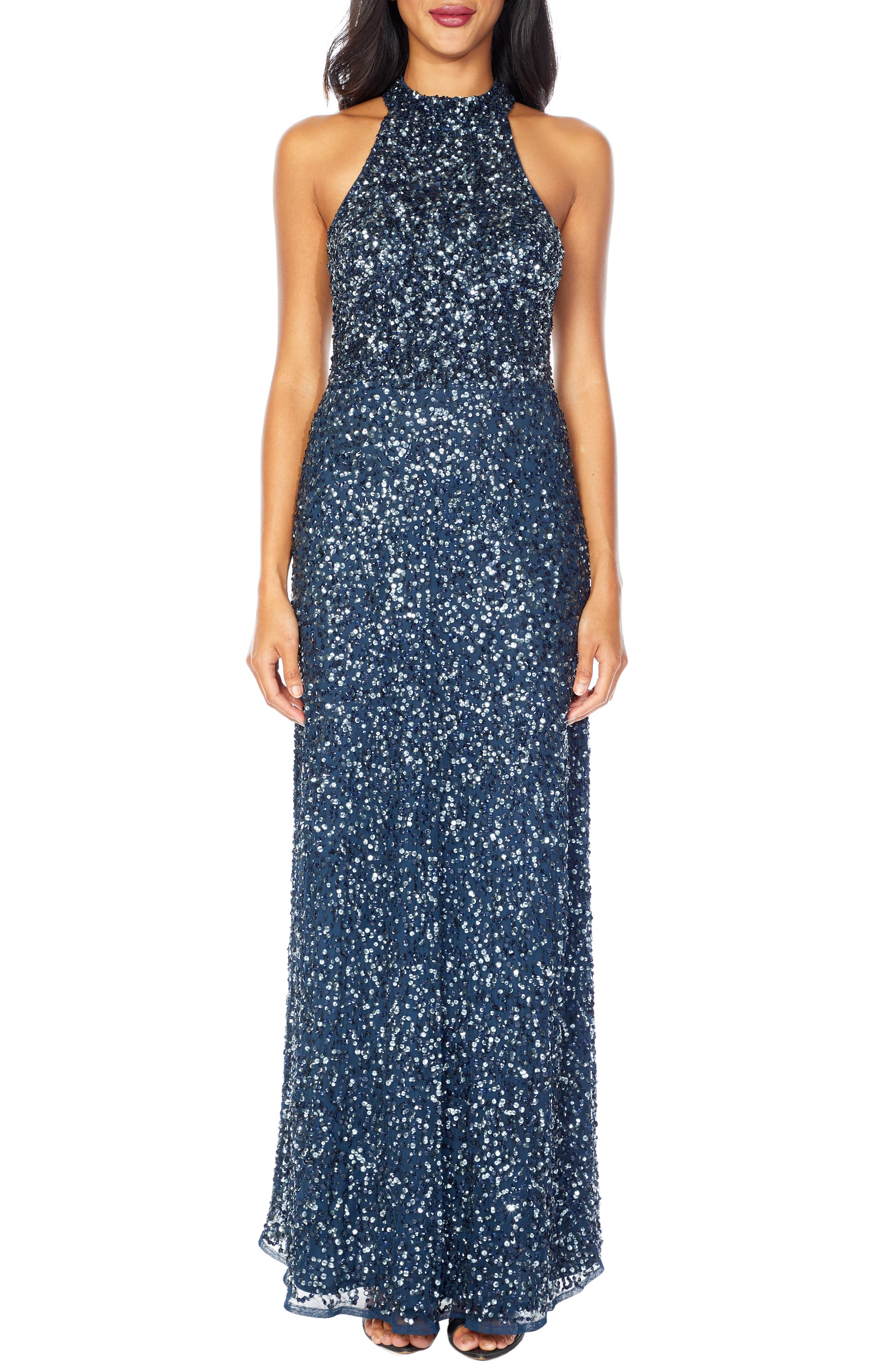 Lace & Beads Annie Sequin Halter Gown, Blue