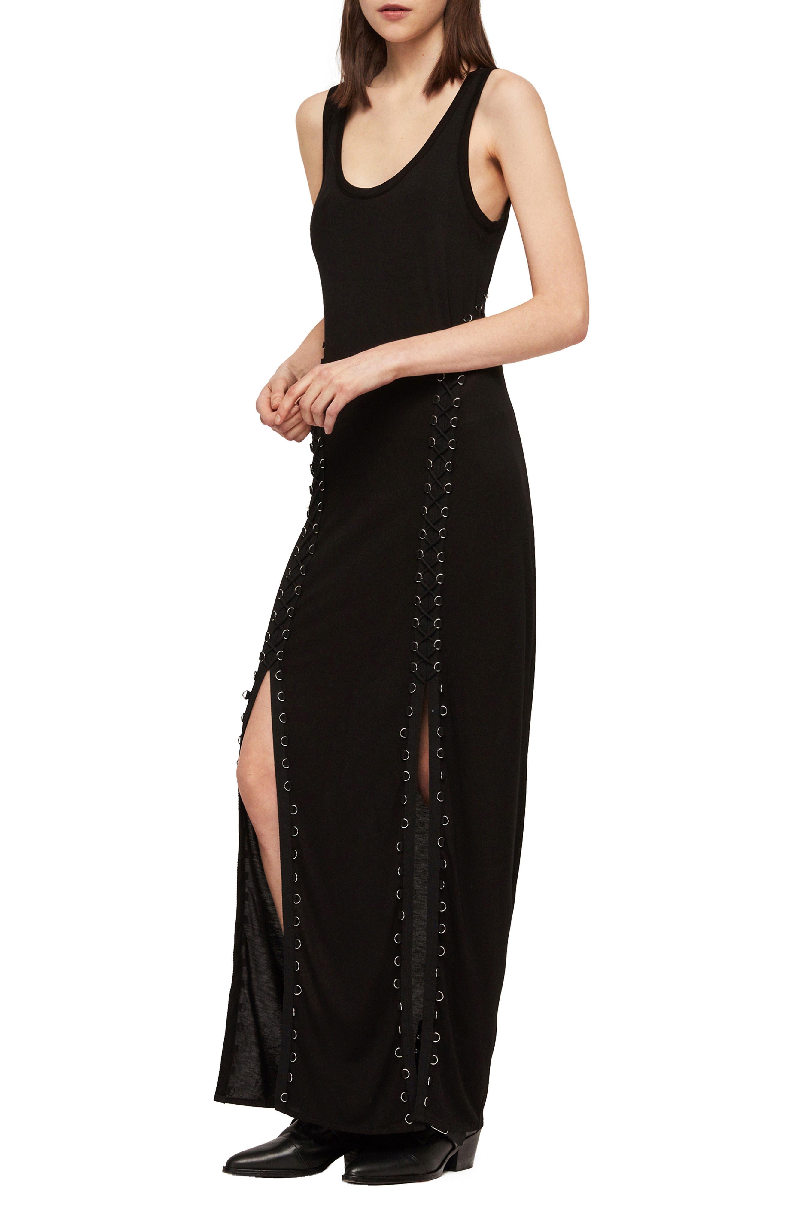 ALLSAINTS, Daner Lace-Up Side Maxi Dress, Alternate thumbnail 3, color, BLACK