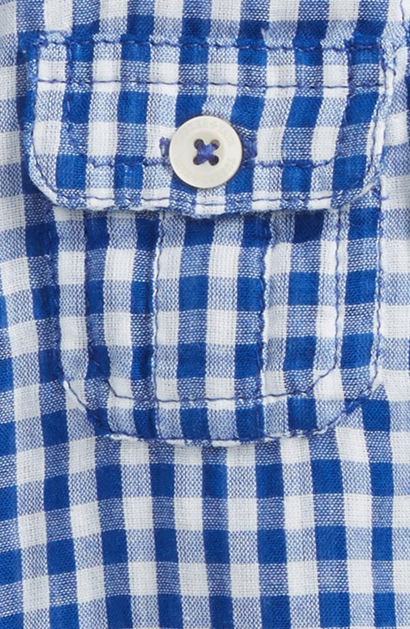 TUCKER + TATE, Double Woven Shirt, Alternate thumbnail 2, color, BLUE CALM GINGHAM