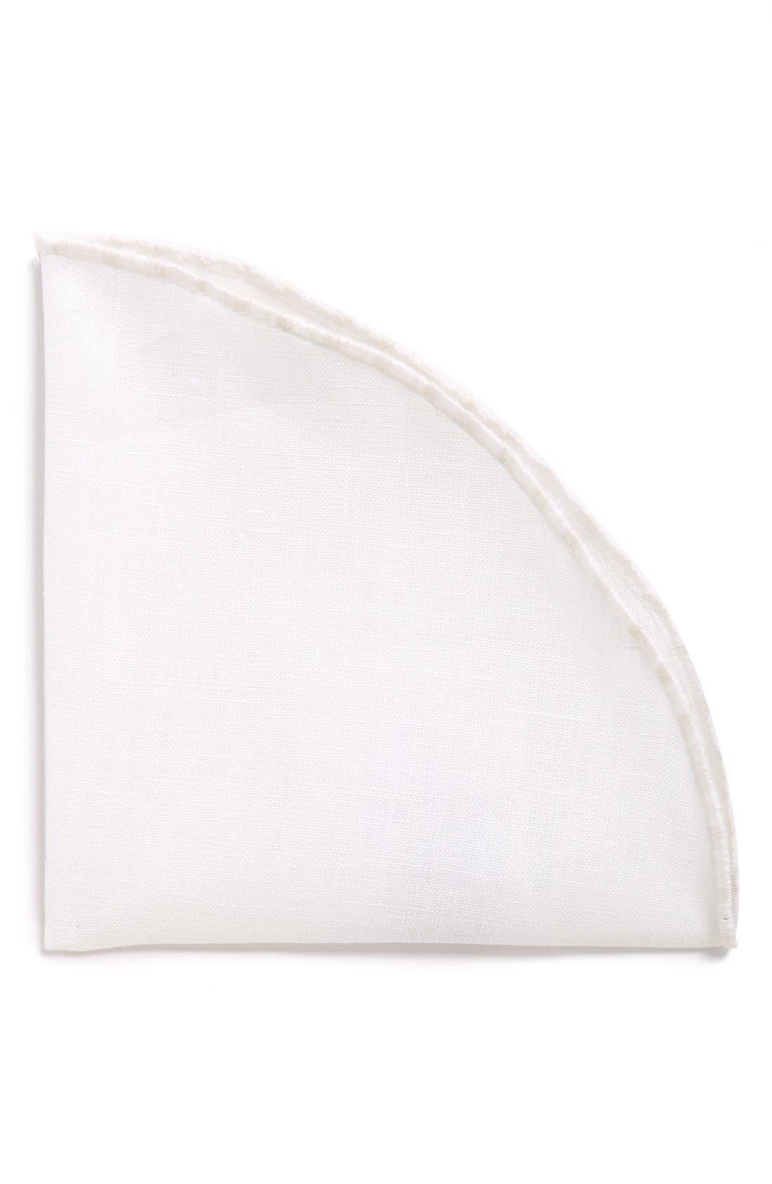 ALEXANDER OLCH Linen Pocket Round, Main, color, 100