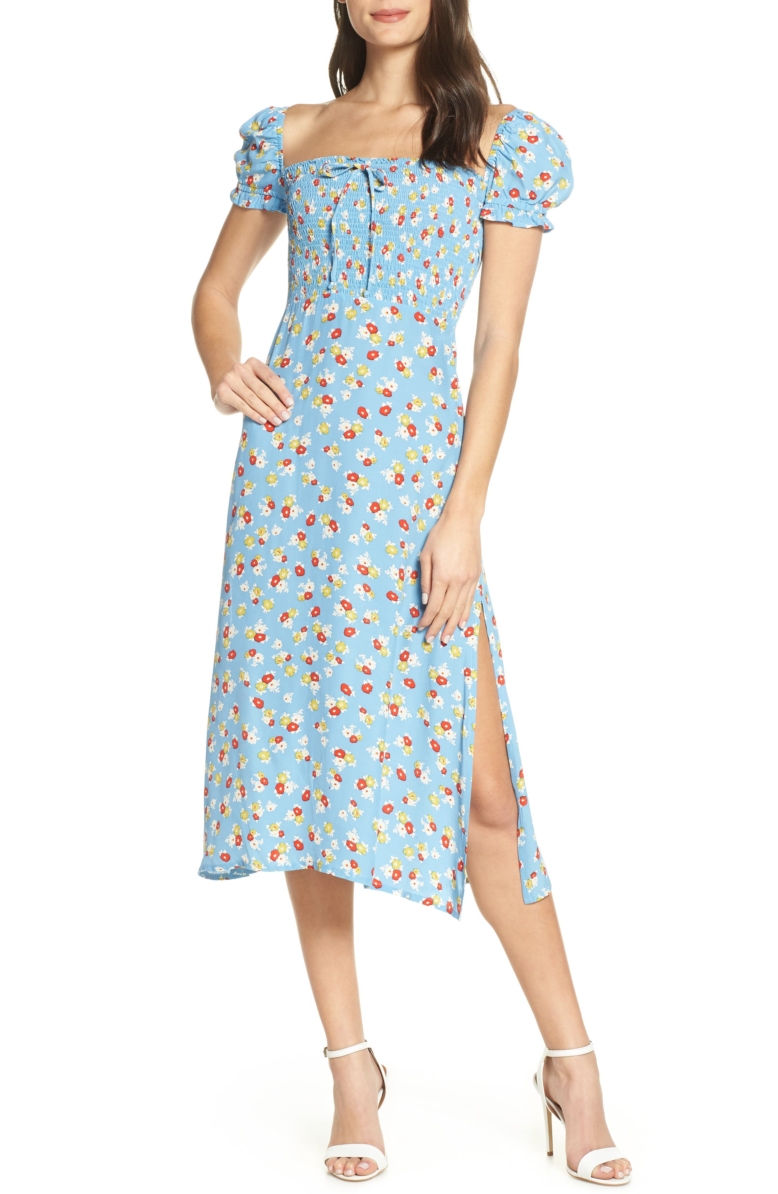 FAITHFULL THE BRAND, Castilo Jasmin Midi Dress, Main thumbnail 1, color, JASMIN FLORAL PRINT - BLUE