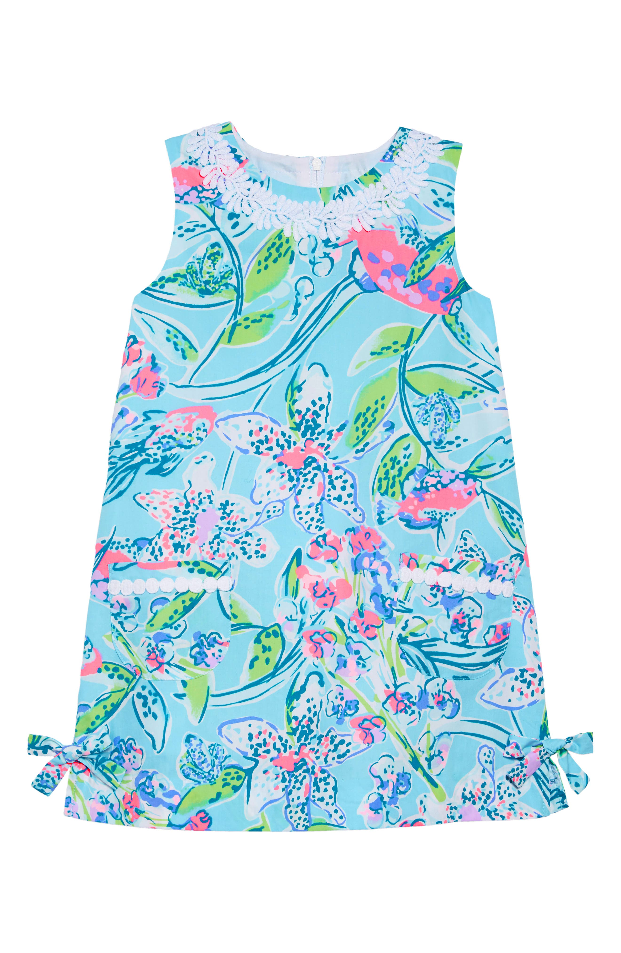 LILLY PULITZER<SUP>®</SUP>, Little Lilly Classic Shift Dress, Main thumbnail 1, color, BALI BLUE SWAY THIS WAY
