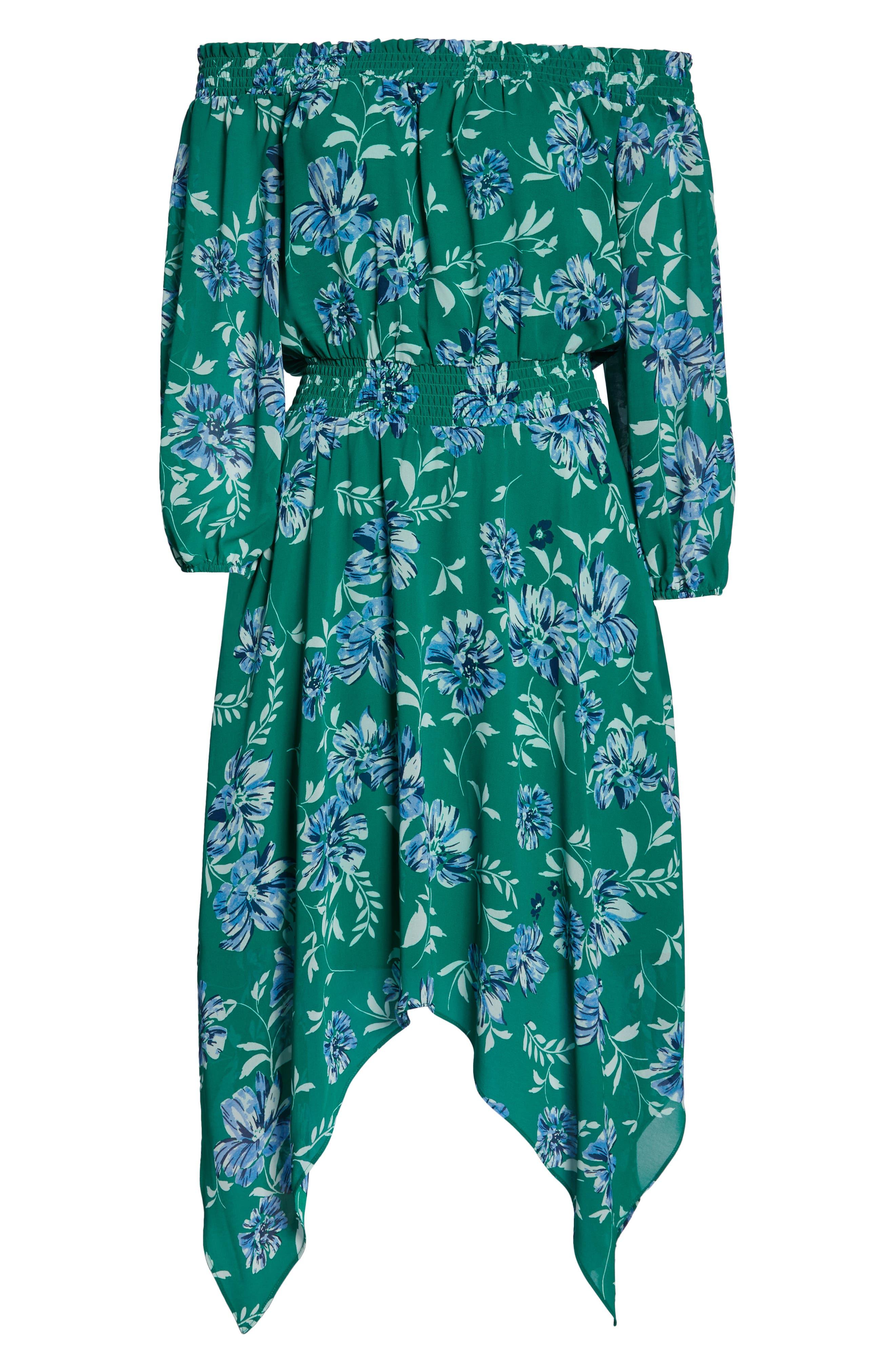 CHARLES HENRY, Smocked Handkerchief Hem Dress, Alternate thumbnail 7, color, KELLY GREEN FLORAL