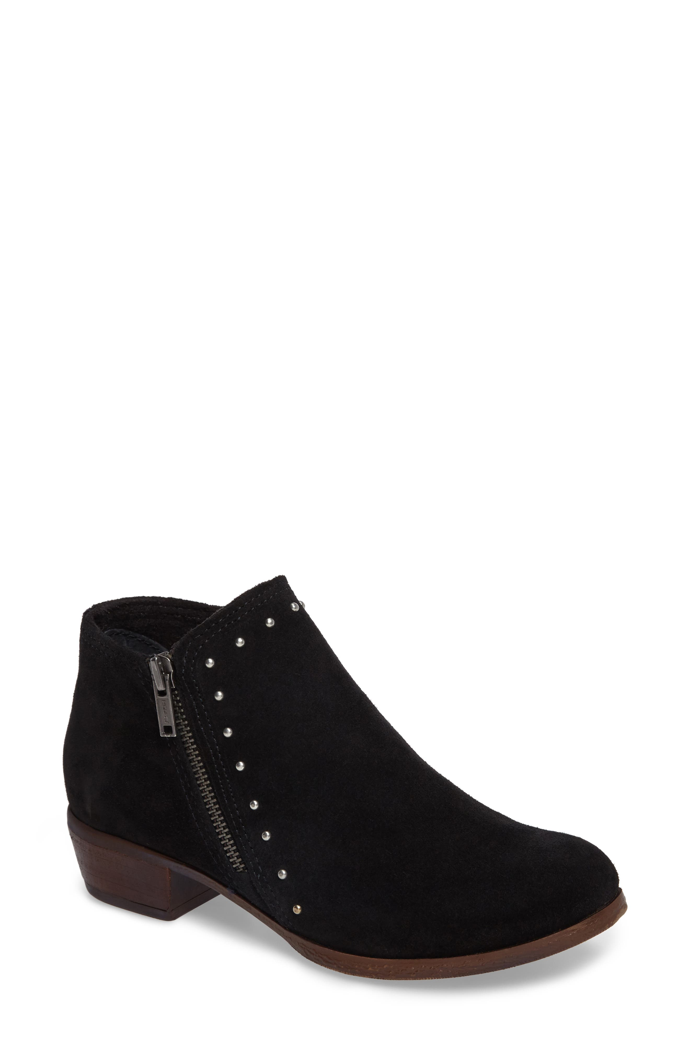 MINNETONKA, Brie Studded Bootie, Main thumbnail 1, color, BLACK