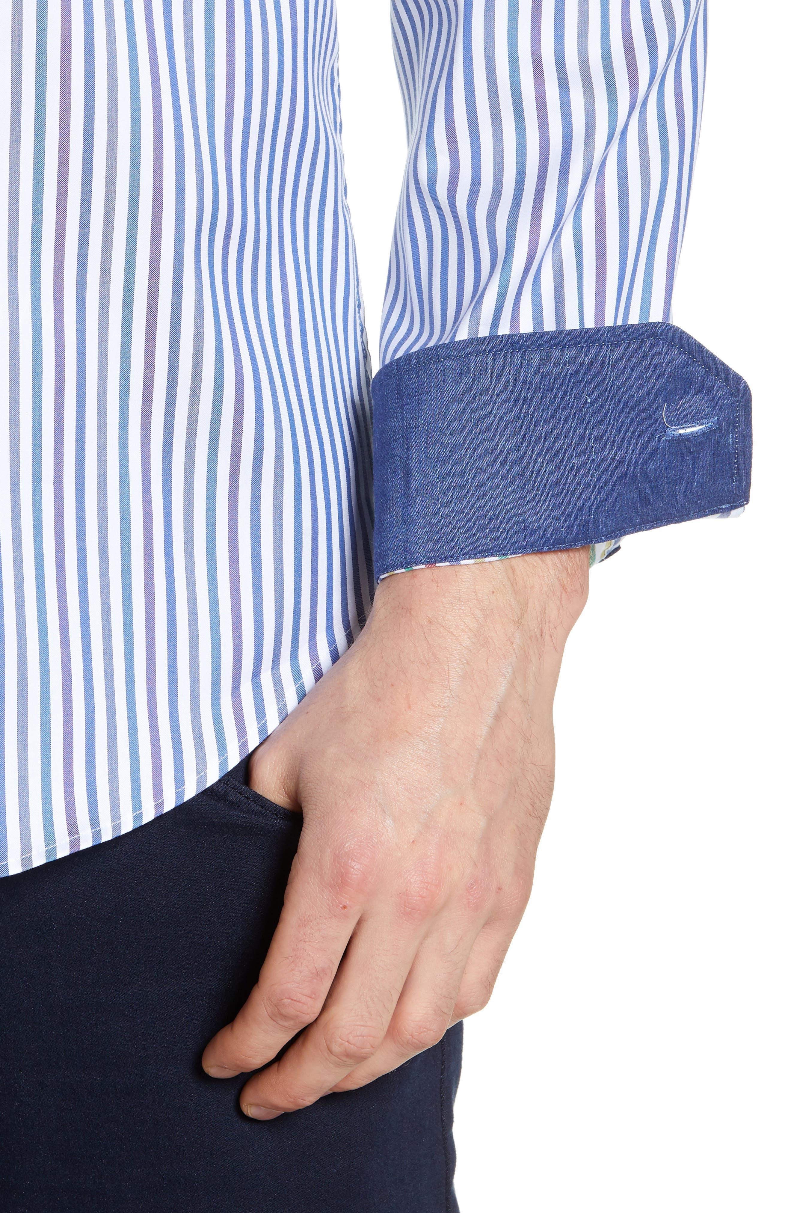 BUGATCHI, Classic Fit Stripe Sport Shirt, Alternate thumbnail 2, color, CHALK