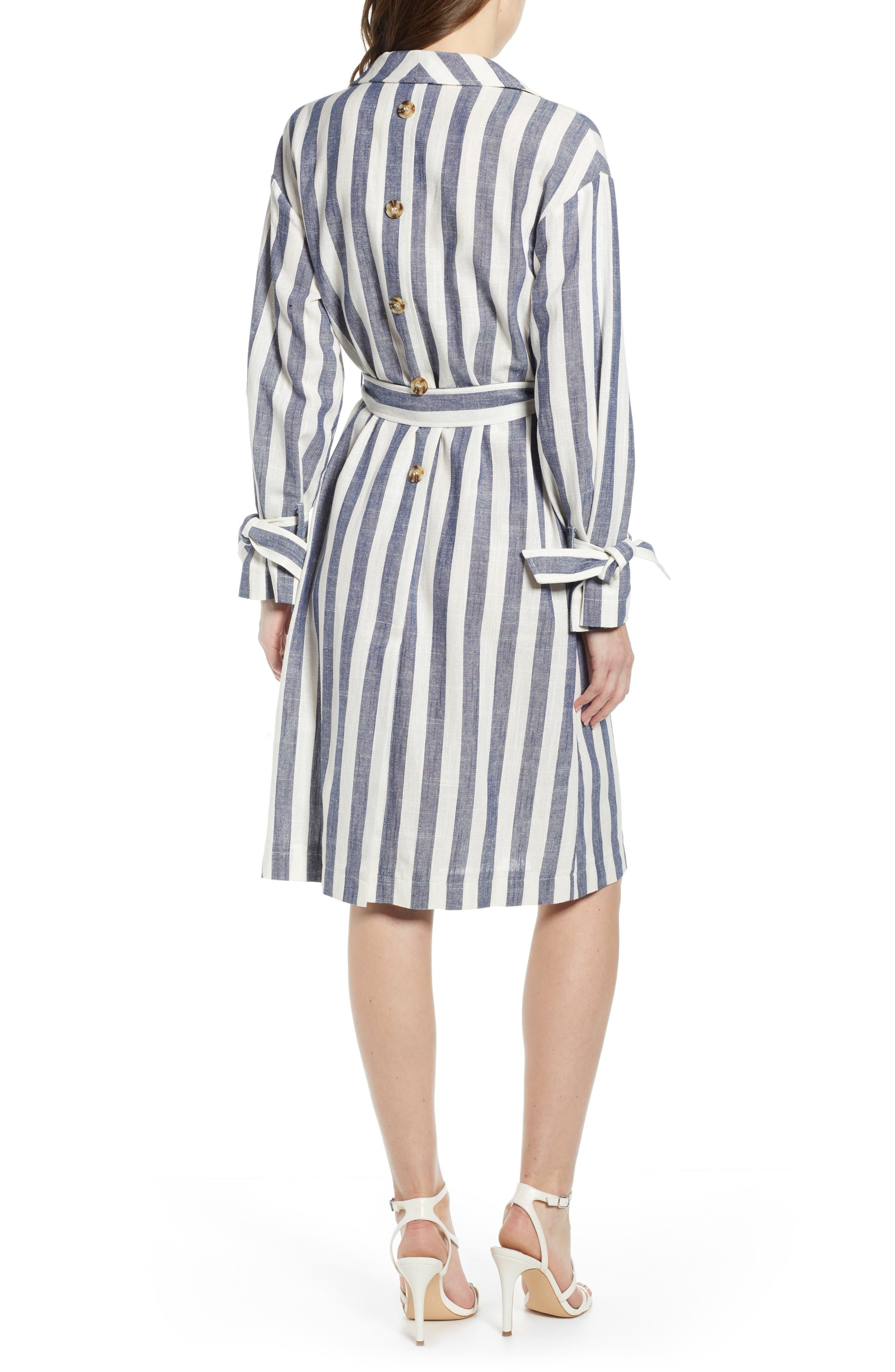 J.O.A., Stripe Cotton & Linen Shirtdress, Alternate thumbnail 2, color, NAVY/ WHITE STRIPE