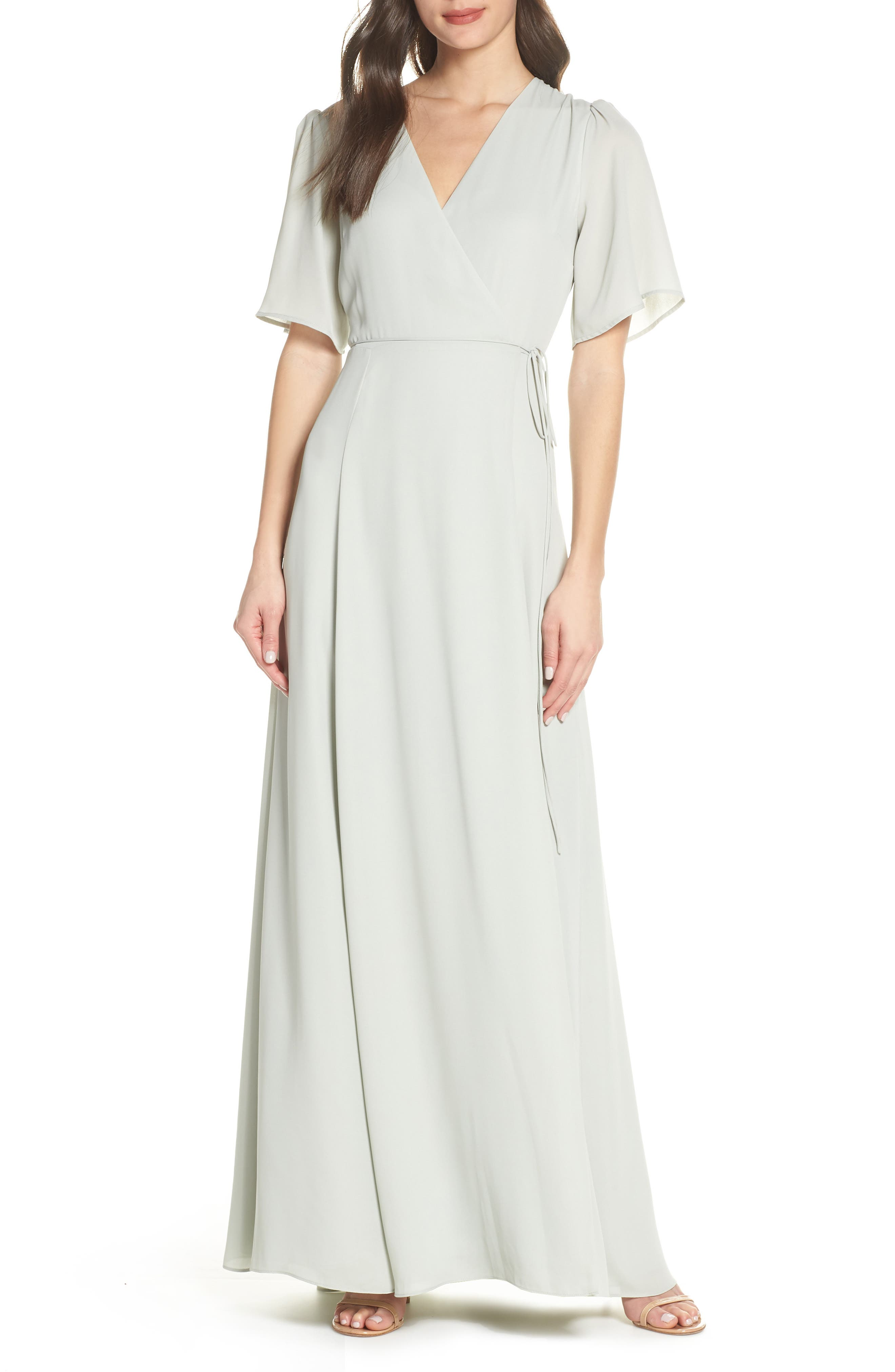 WAYF The Aurelia Short Sleeve Wrap Evening Dress, Main, color, SAGE