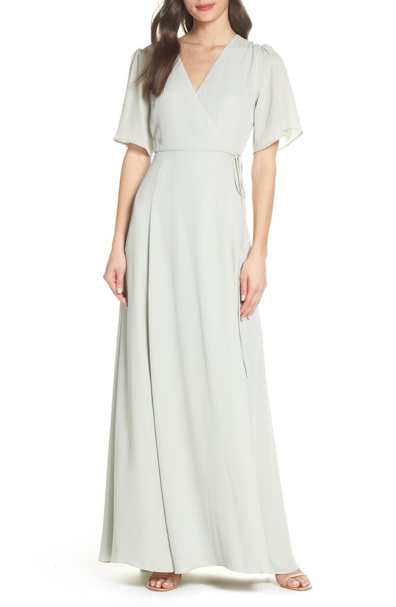 Wayf THE AURELIA SHORT SLEEVE WRAP EVENING DRESS