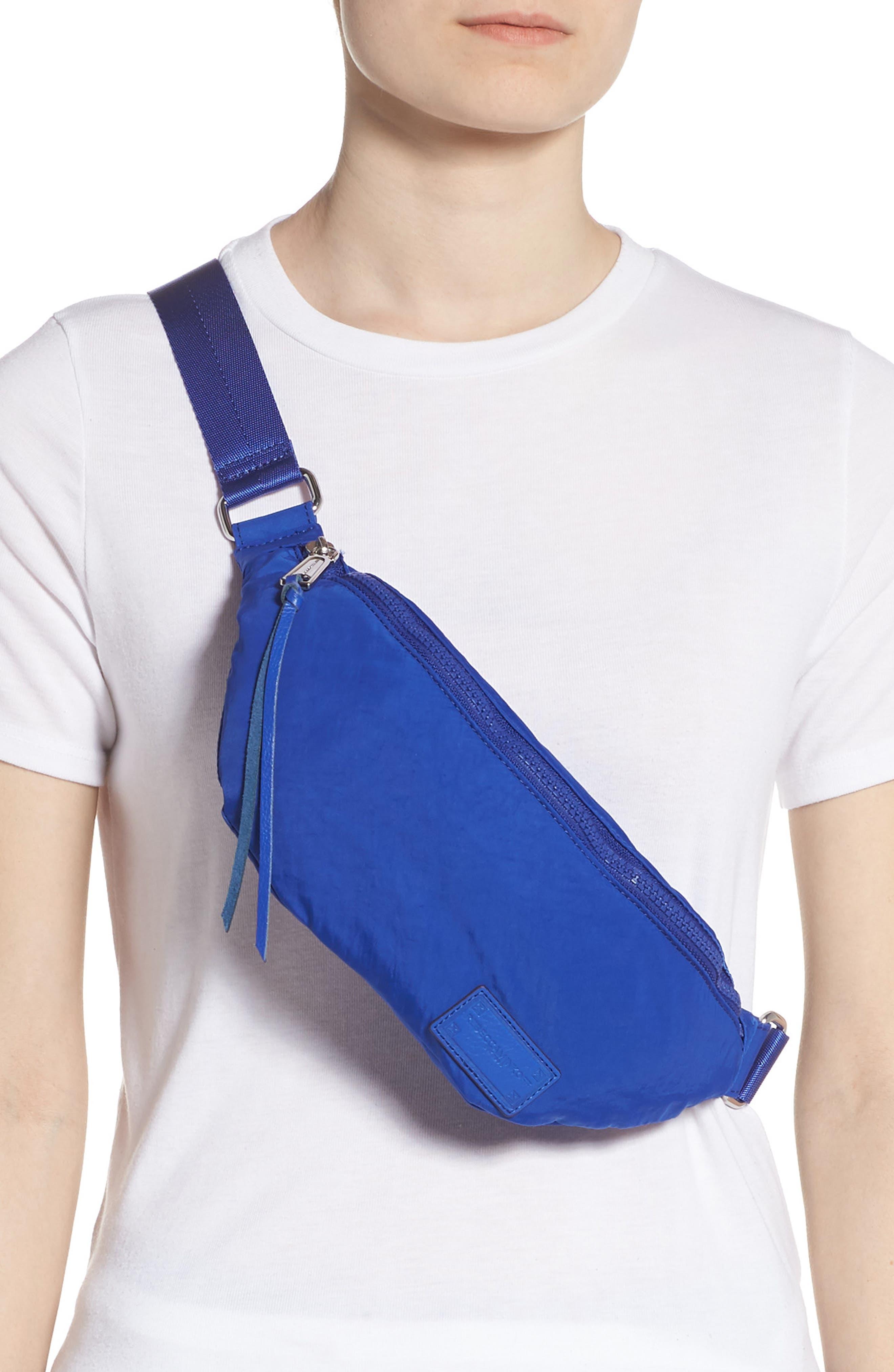 REBECCA MINKOFF, Nylon Belt Bag, Alternate thumbnail 4, color, BRIGHT BLUE