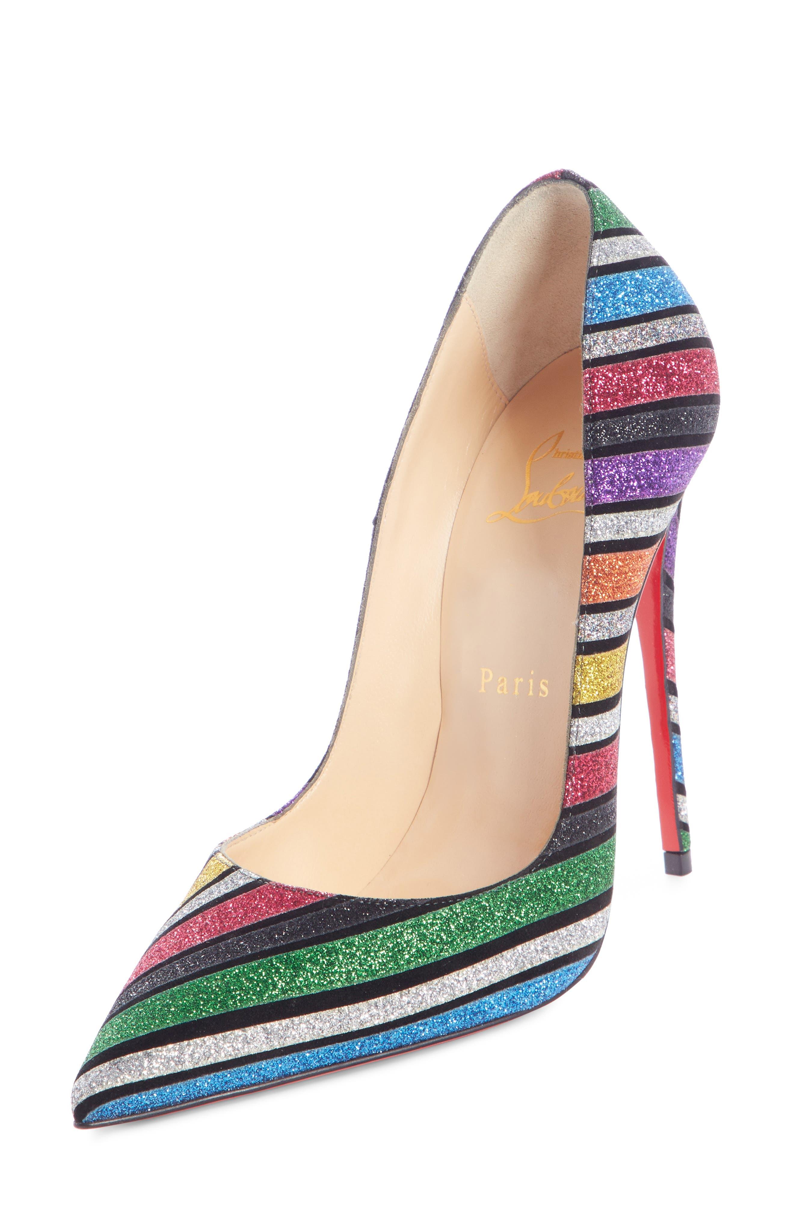 CHRISTIAN LOUBOUTIN, So Kate Glitter Stripe Pump, Main thumbnail 1, color, RAINBOW STRIPE