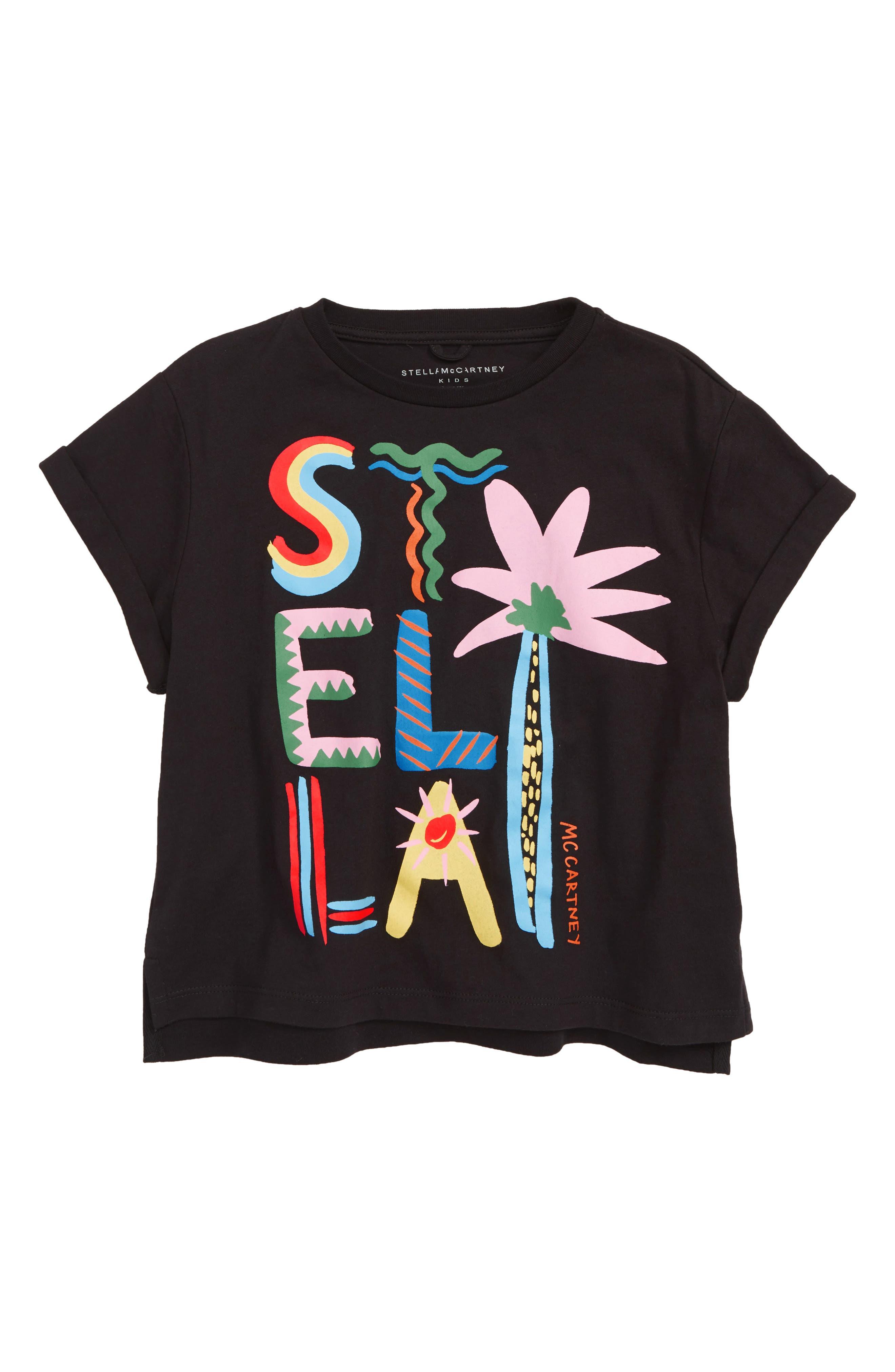 STELLA MCCARTNEY KIDS Logo Print Tee, Main, color, 1073 BLACK
