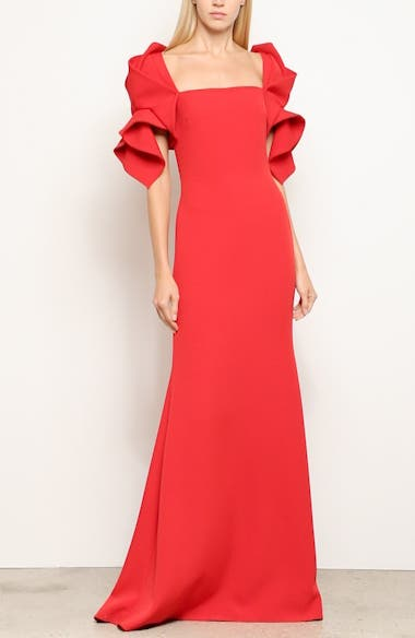 Ruffle Sleeve Evening Dress, video thumbnail