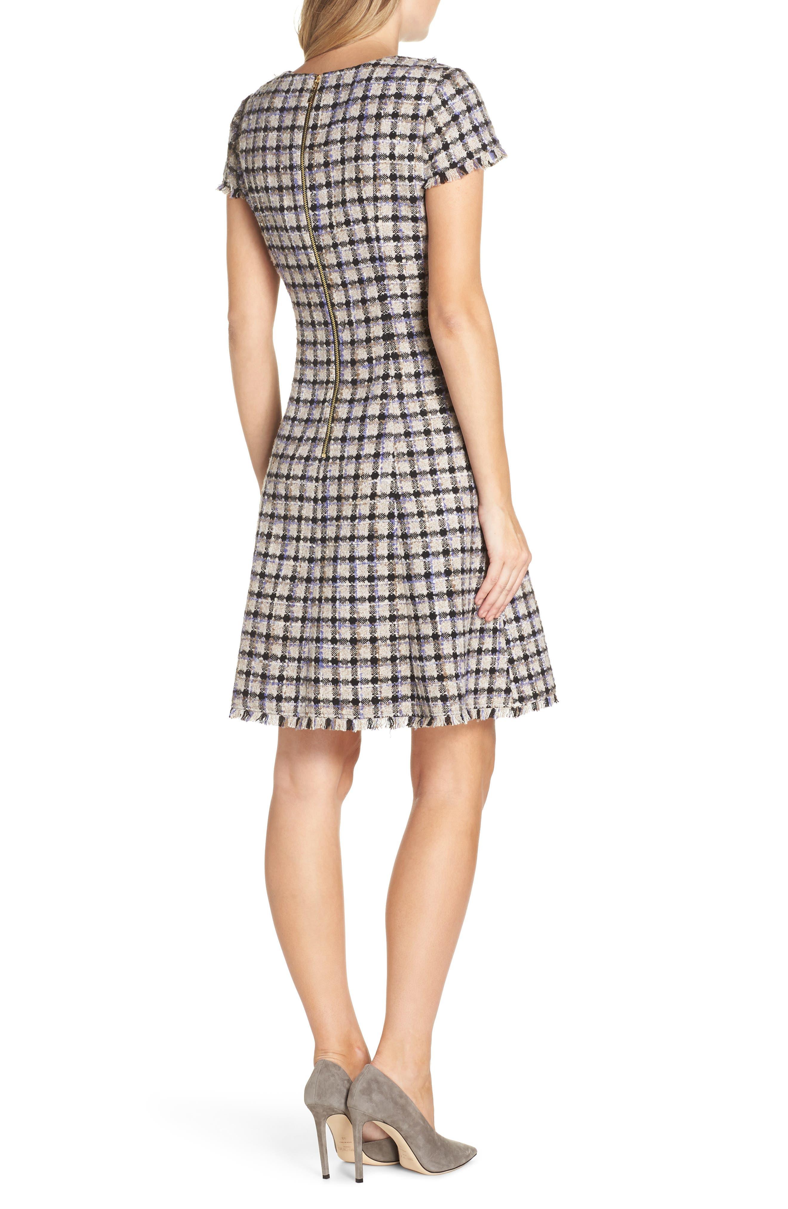 ELIZA J, Cap Sleeve Fit & Flare Dress, Alternate thumbnail 2, color, 900