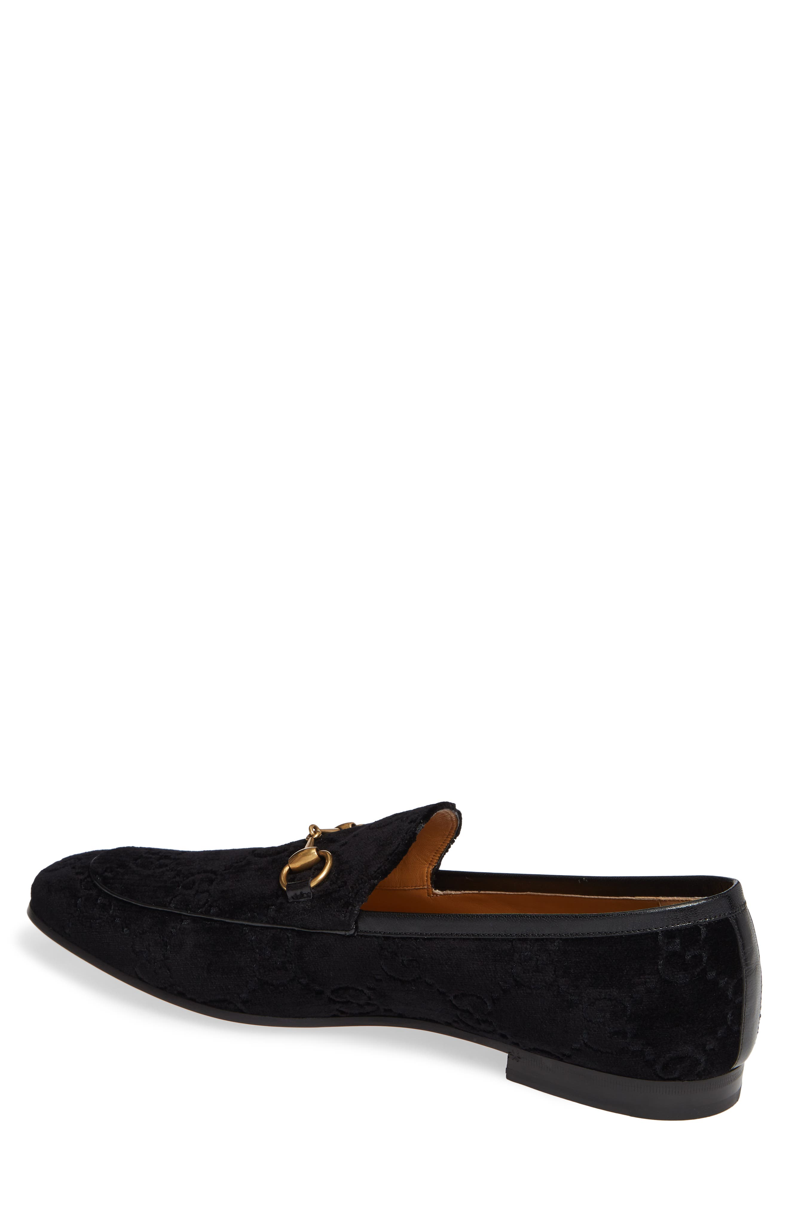 GUCCI, Jordaan GG Velvet Loafer, Alternate thumbnail 2, color, NERO/ NERO