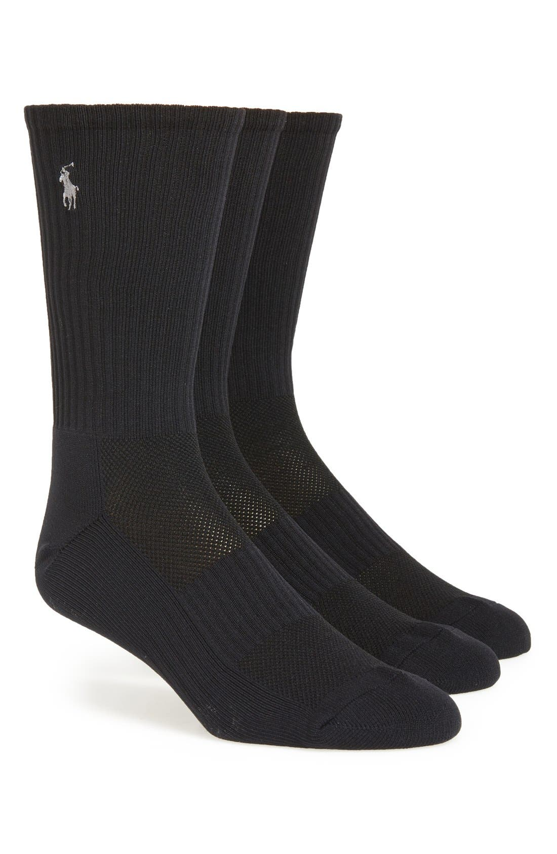 POLO RALPH LAUREN, Tech Athletic Crew Socks, Main thumbnail 1, color, BLACK