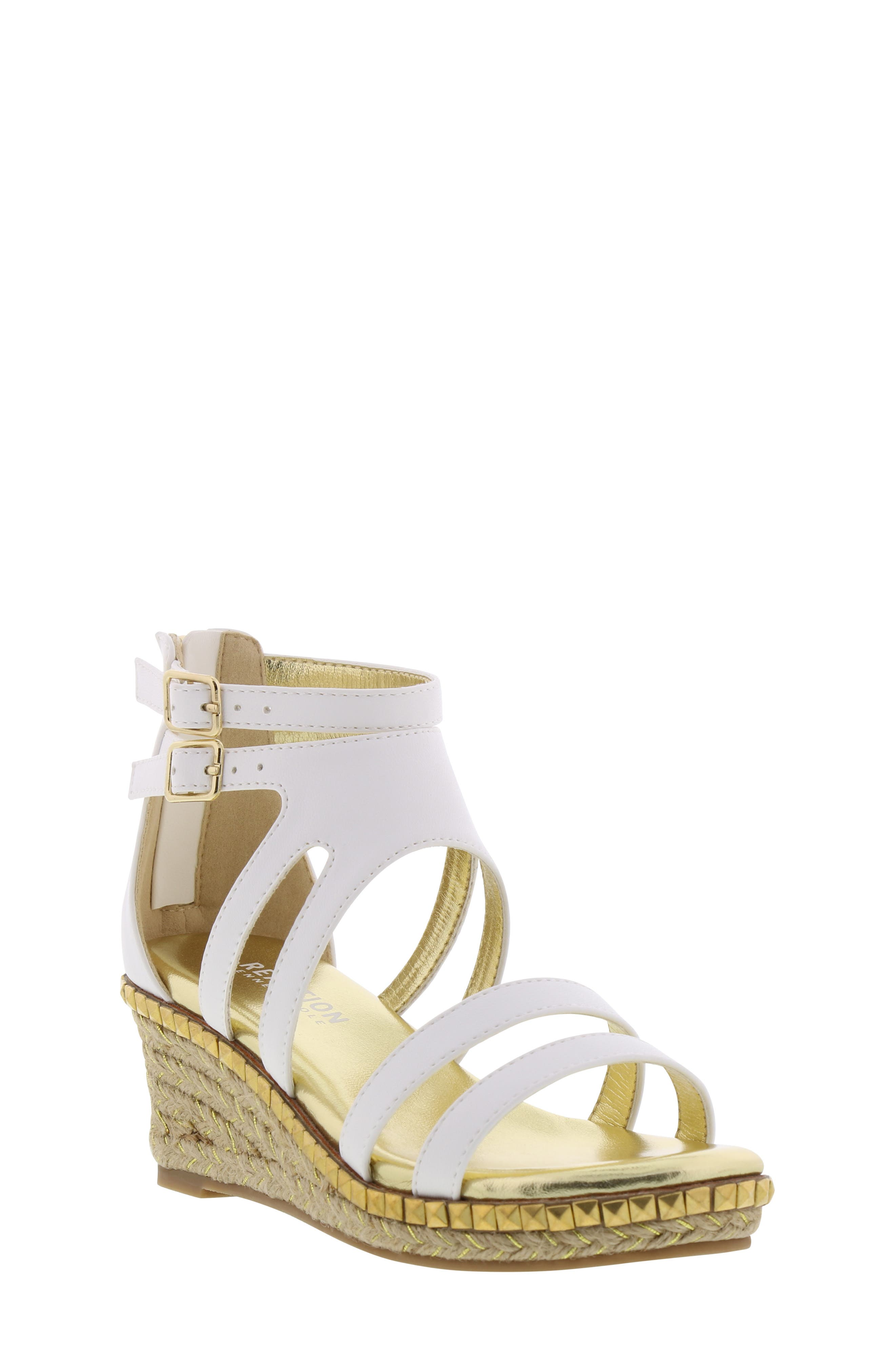 REACTION KENNETH COLE Reed Splash Wedge Sandal, Main, color, WHITE