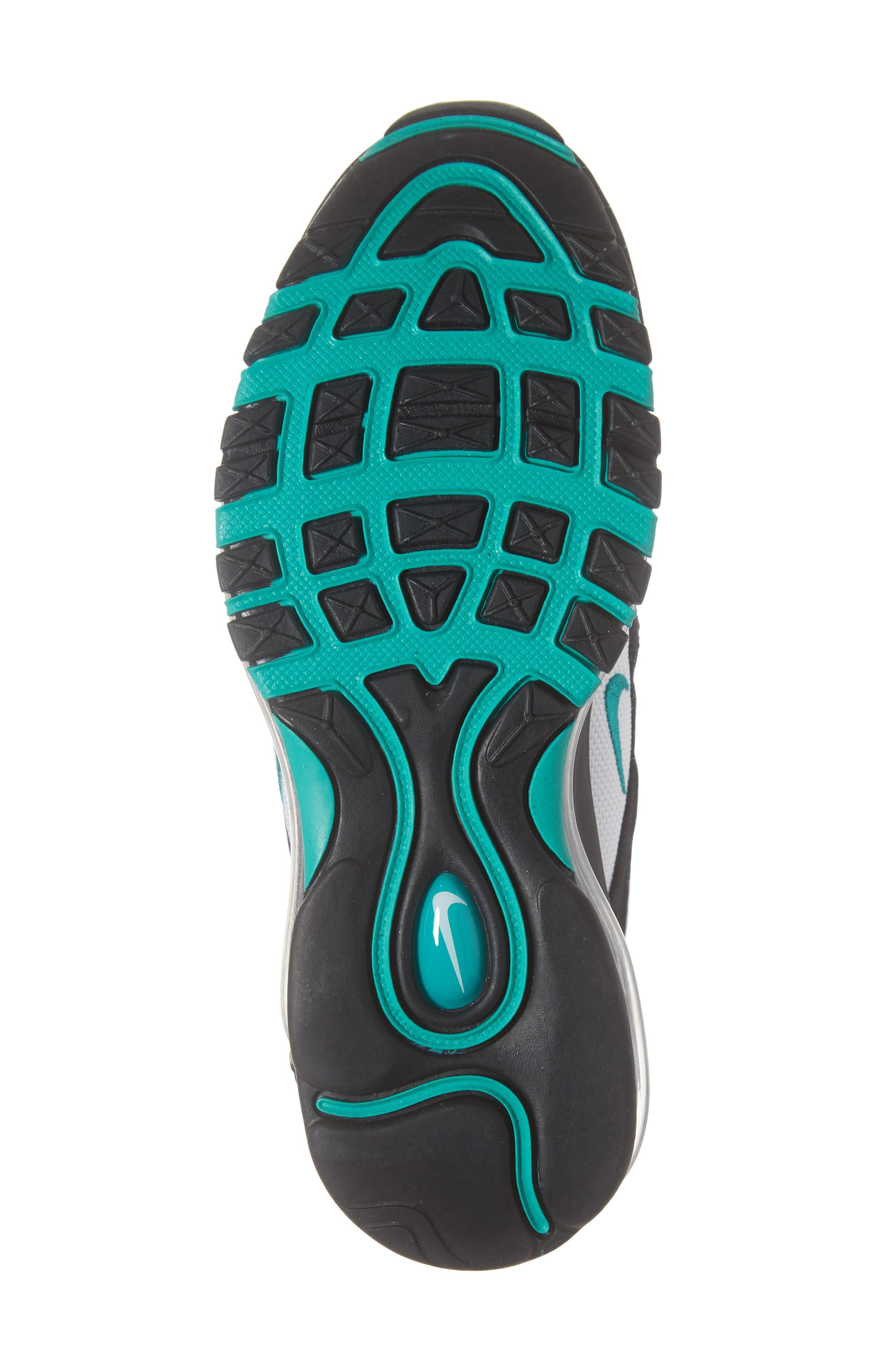 NIKE, Air Max 97 Sneaker, Alternate thumbnail 6, color, BLACK/ CLEAR EMERALD-WHITE
