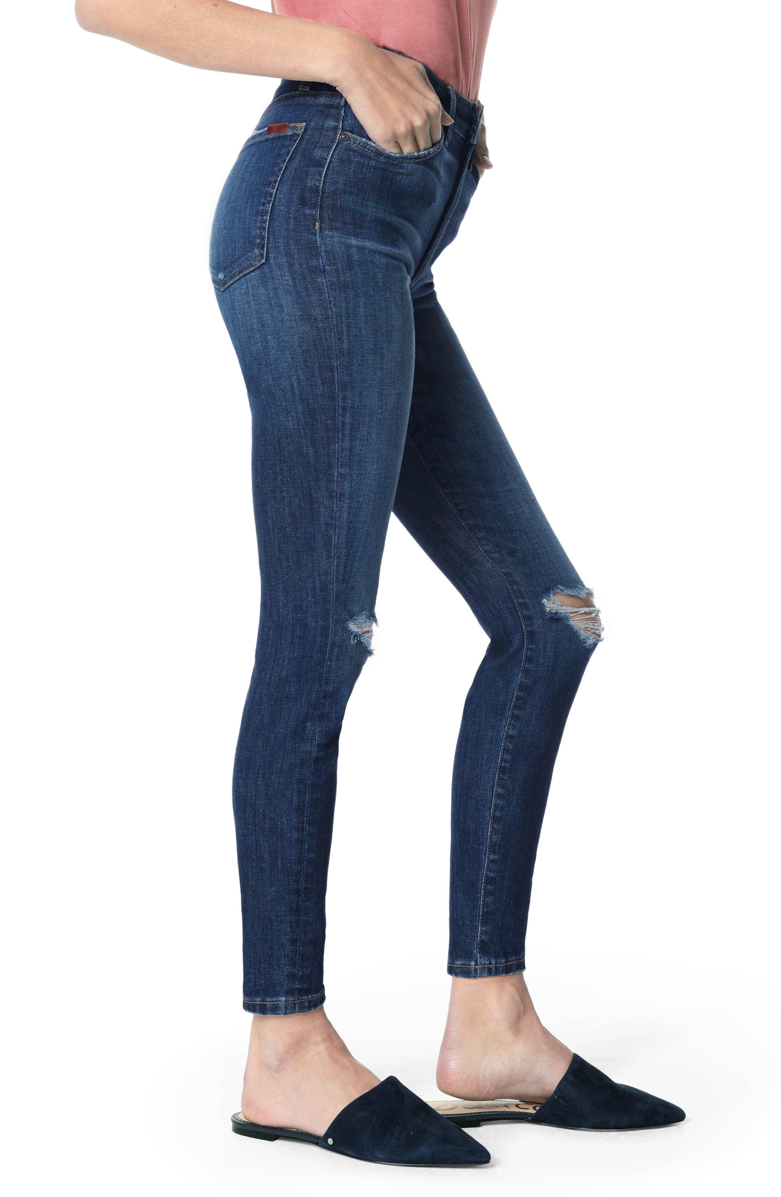 JOE'S, Charlie Ripped High Waist Ankle Skinny Jeans, Alternate thumbnail 3, color, ETTIE