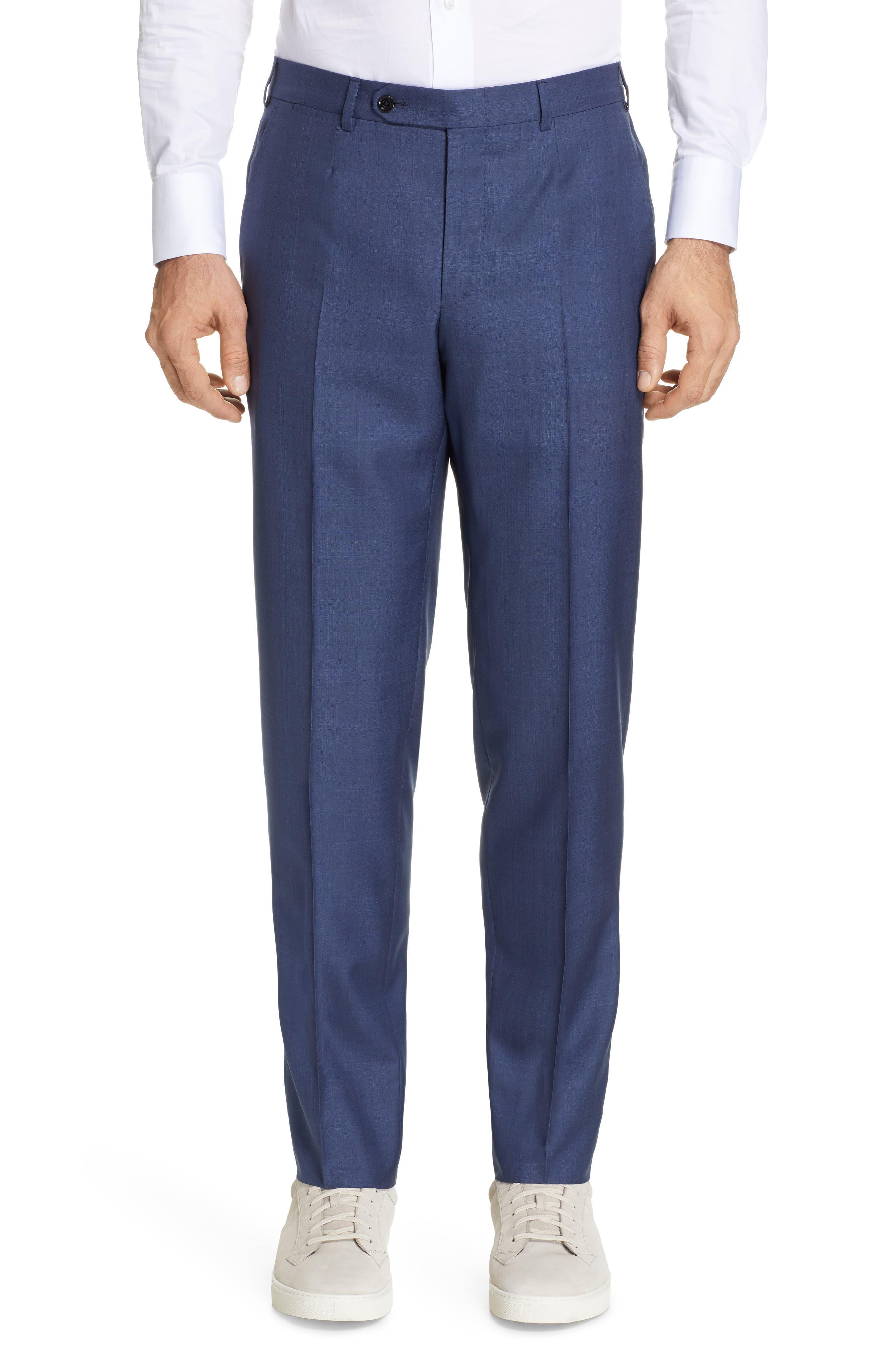 ERMENEGILDO ZEGNA, Trofeo Classic Fit Plaid Wool & Silk Suit, Alternate thumbnail 6, color, BLUE